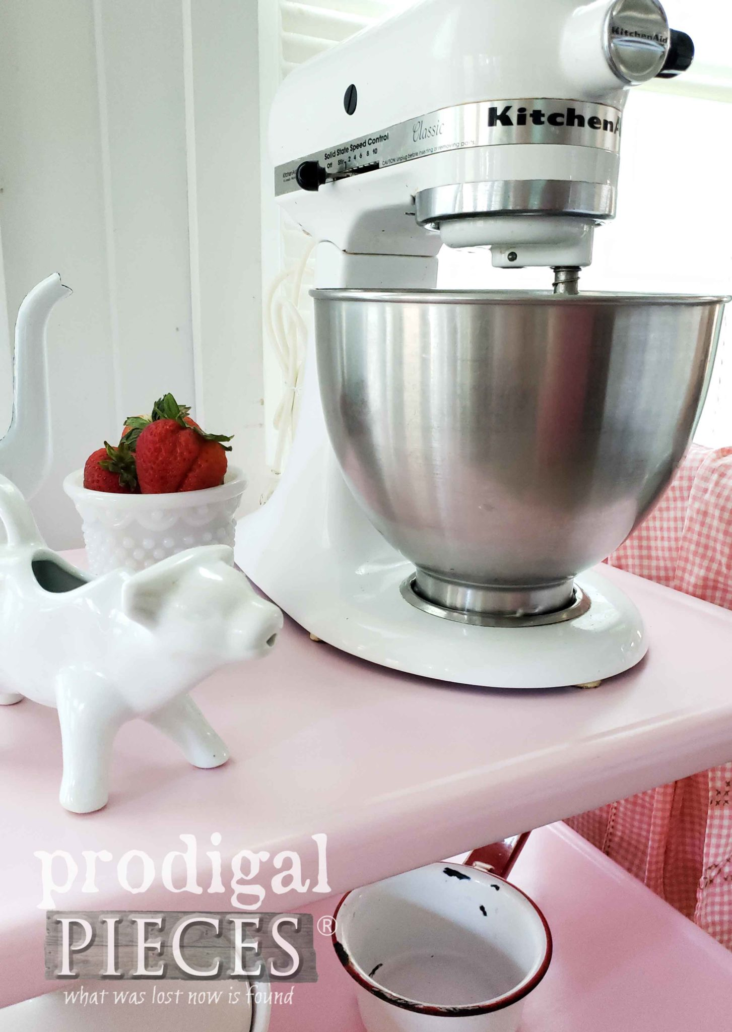 Vintage Kitchenaid Stand Mixer on Vintage Cosco Cart | prodigalpieces.com #prodigalpieces #vintage #kitchenaid