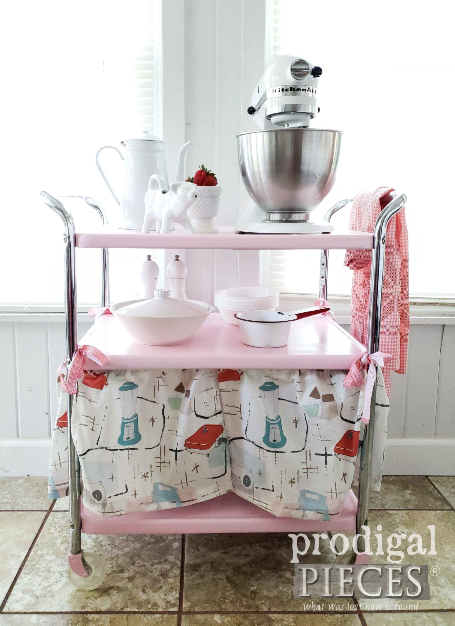 Vintage Pink Cosco Cart with Dust Ruffle Skirt by Larissa of Prodigal Pieces | prodigalpieces.com #prodigalpieces #diy #home #homedecor #furniture #vintage