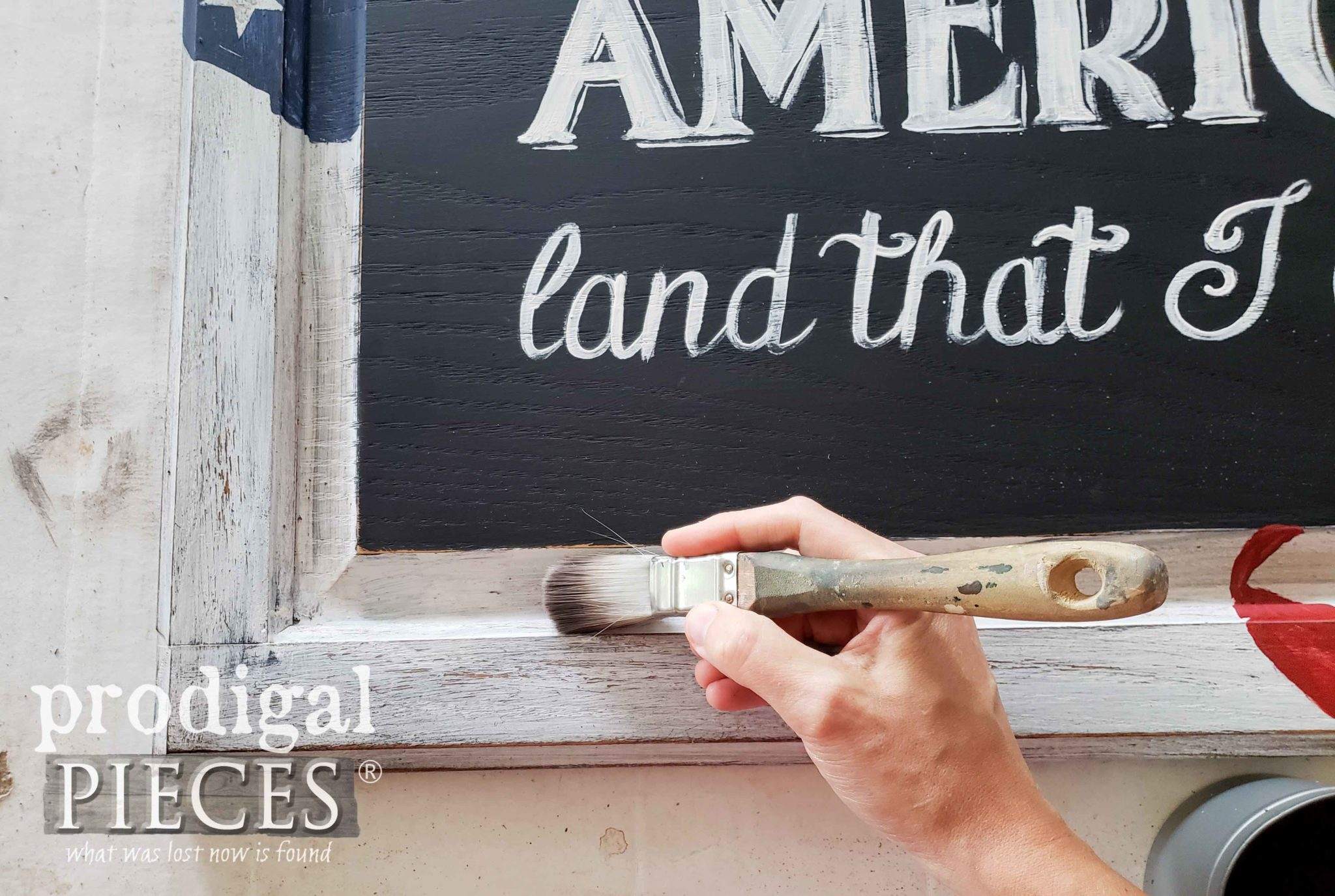 Waxing DIY 4th of July Patriotic Sign with Zibra Paint Brushes by Larissa of Prodigal Pieces | prodigalpieces.com #prodigalpieces #diy #paint