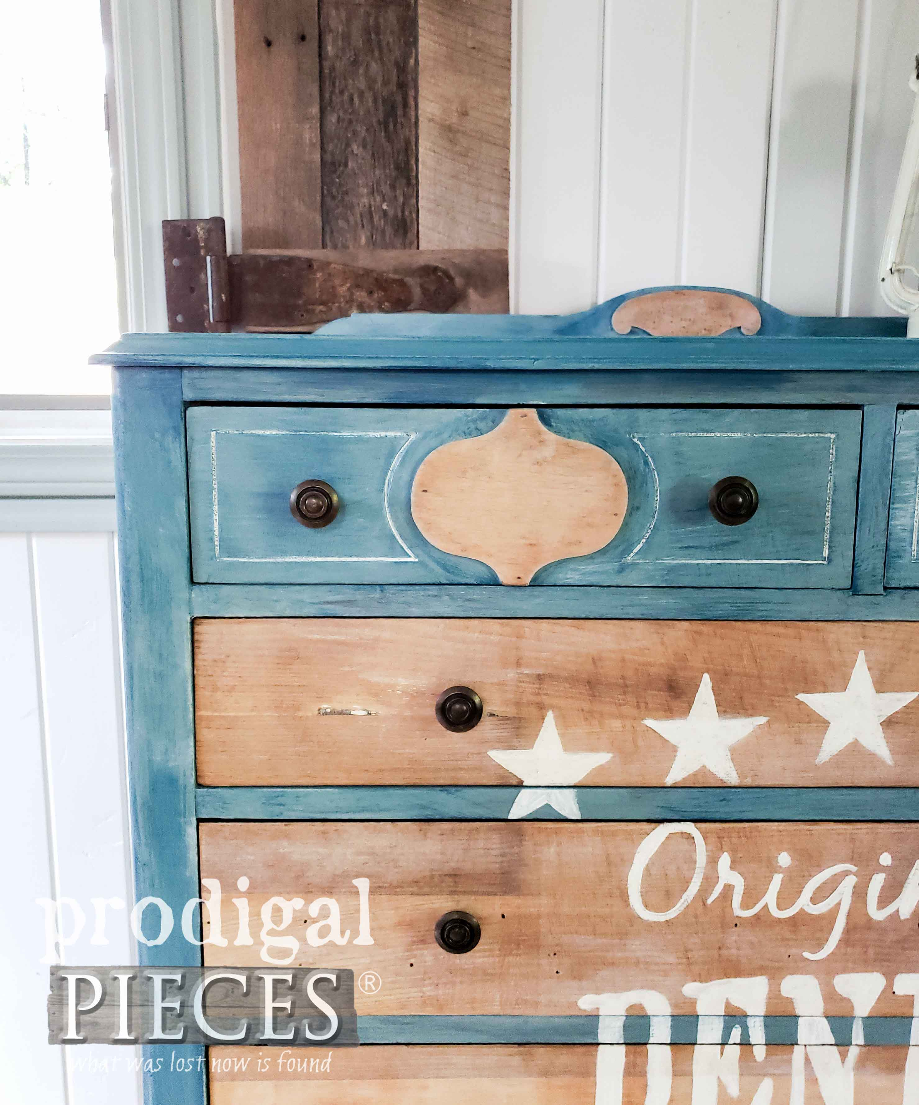 Antique Chest of Drawers Given Time-Worn Denim Effect by Larissa of Prodigal Pieces | prodigalpieces.com #prodigalpieces #furniture #art #home #homedecor #farmhouse