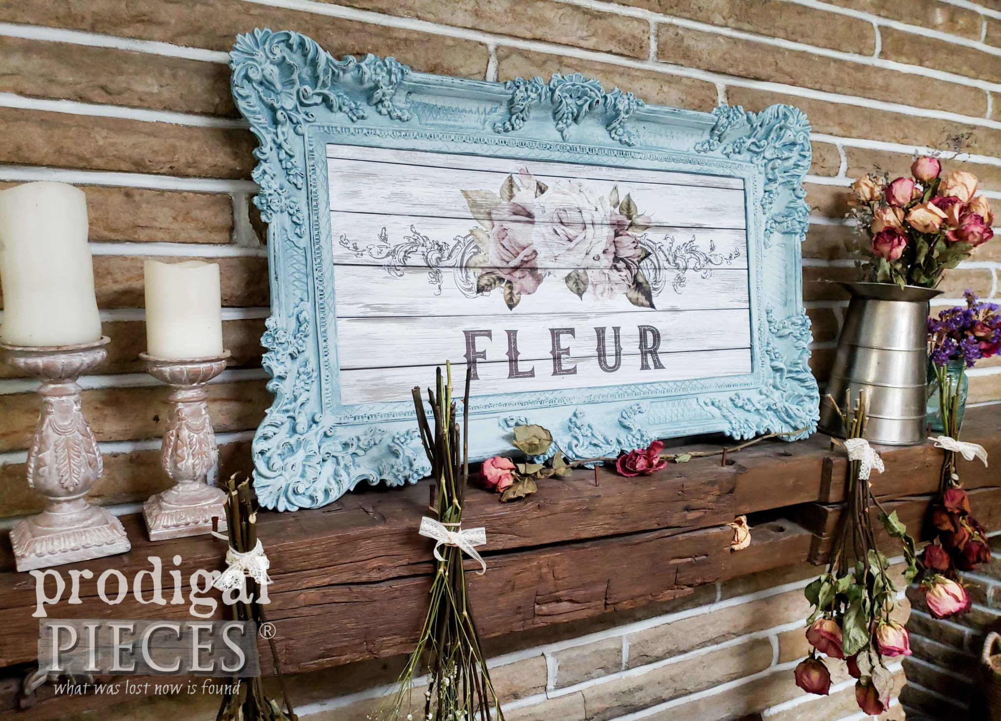Aqua Blue Shabby Chic Wall Art Created by Larissa of Prodigal Pieces with video tutorial at prodigalpieces.com #prodigalpieces #diy #shabbychic #home #homedecor