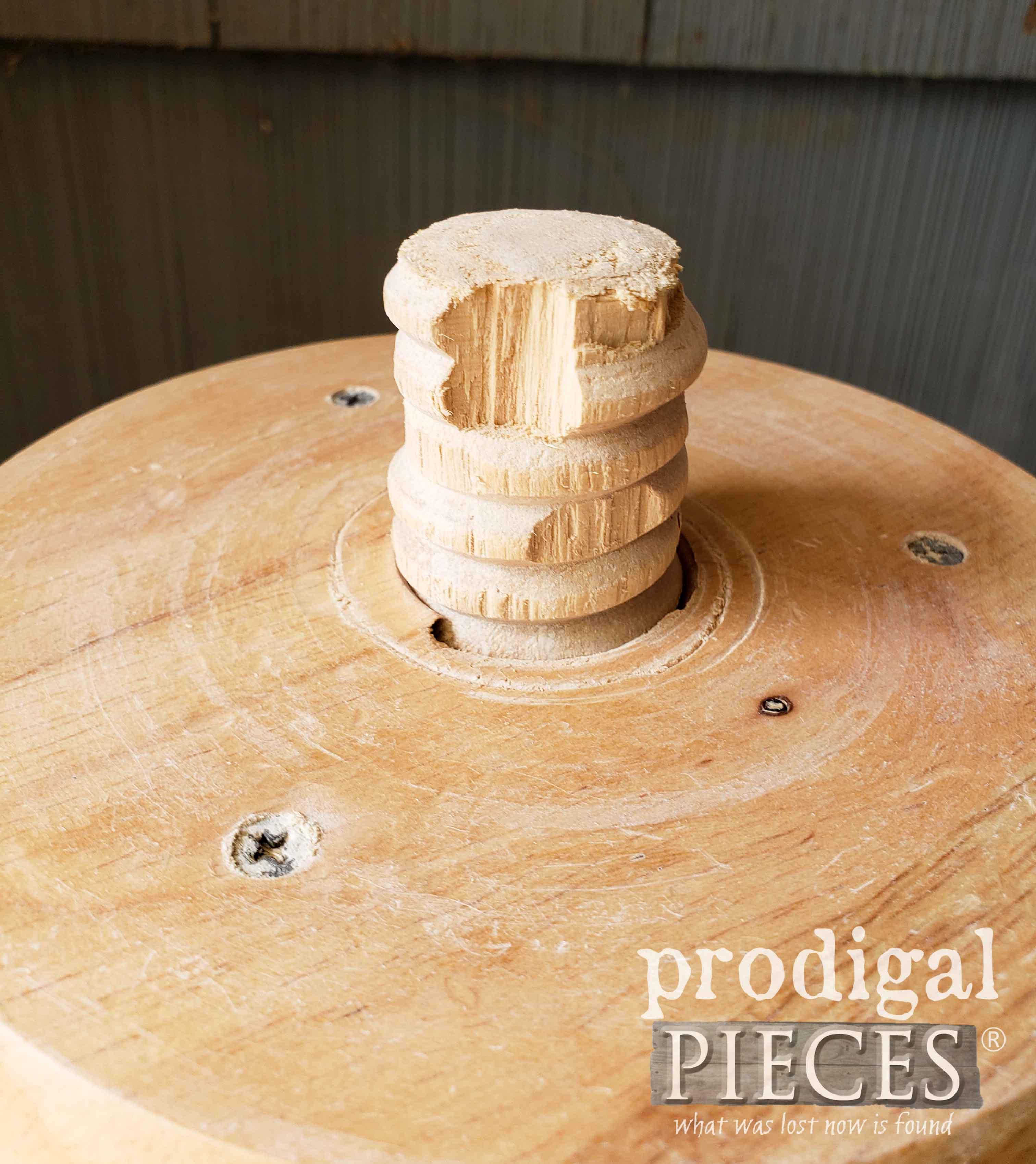 Damaged Threaded Stool Center | prodigalpieces.com