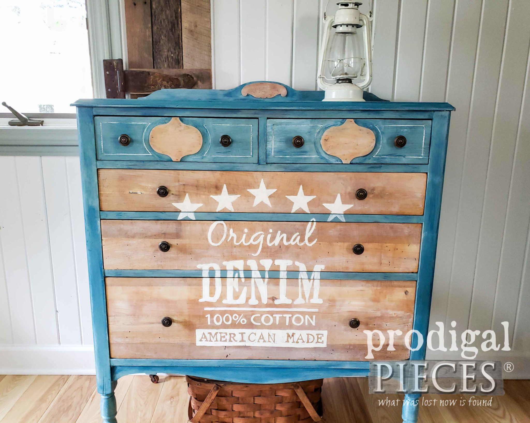 Rustic Farmhouse Style Denim Chest of Drawers with Typography by Larissa of Prodigal Pieces | prodigalpieces.com #prodigalpieces #diy #home #furniture #art #farmhouse #homedecor