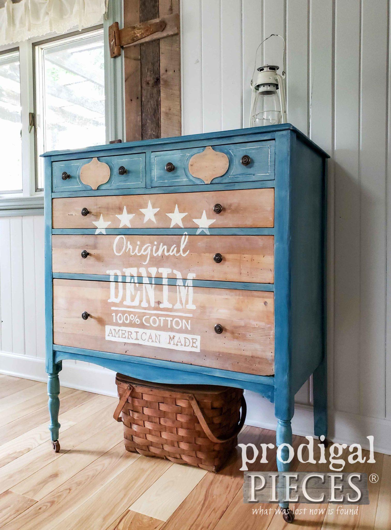 DIY Denim Furniture Paint Technique with Tutorial by Larissa of Prodigal Pieces | prodigalpieces.com #prodigalpieces #diy #farmhouse #furniture #home #homedecor #denim