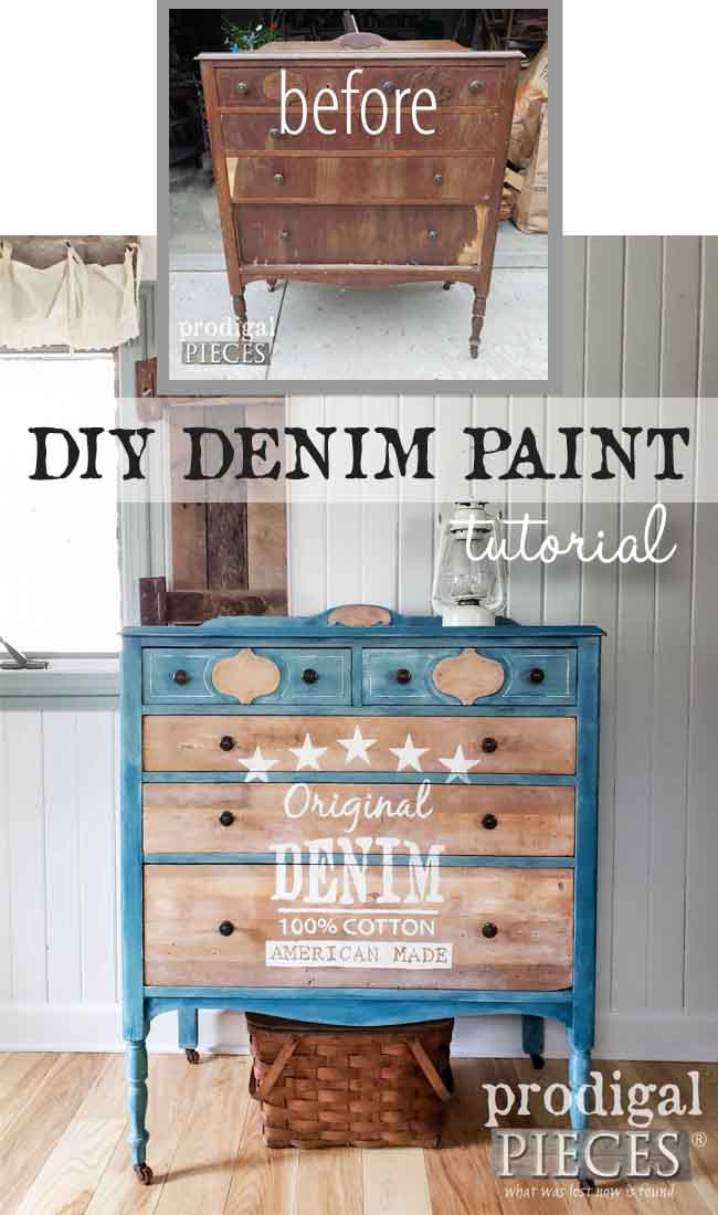 DIY Denim Paint Technique Tutorial by Larissa of Prodigal Pieces | Head to prodigalpieces.com for the details | #prodigalpieces #diy #home #homedecor #furniture #farmhouse #art #denim