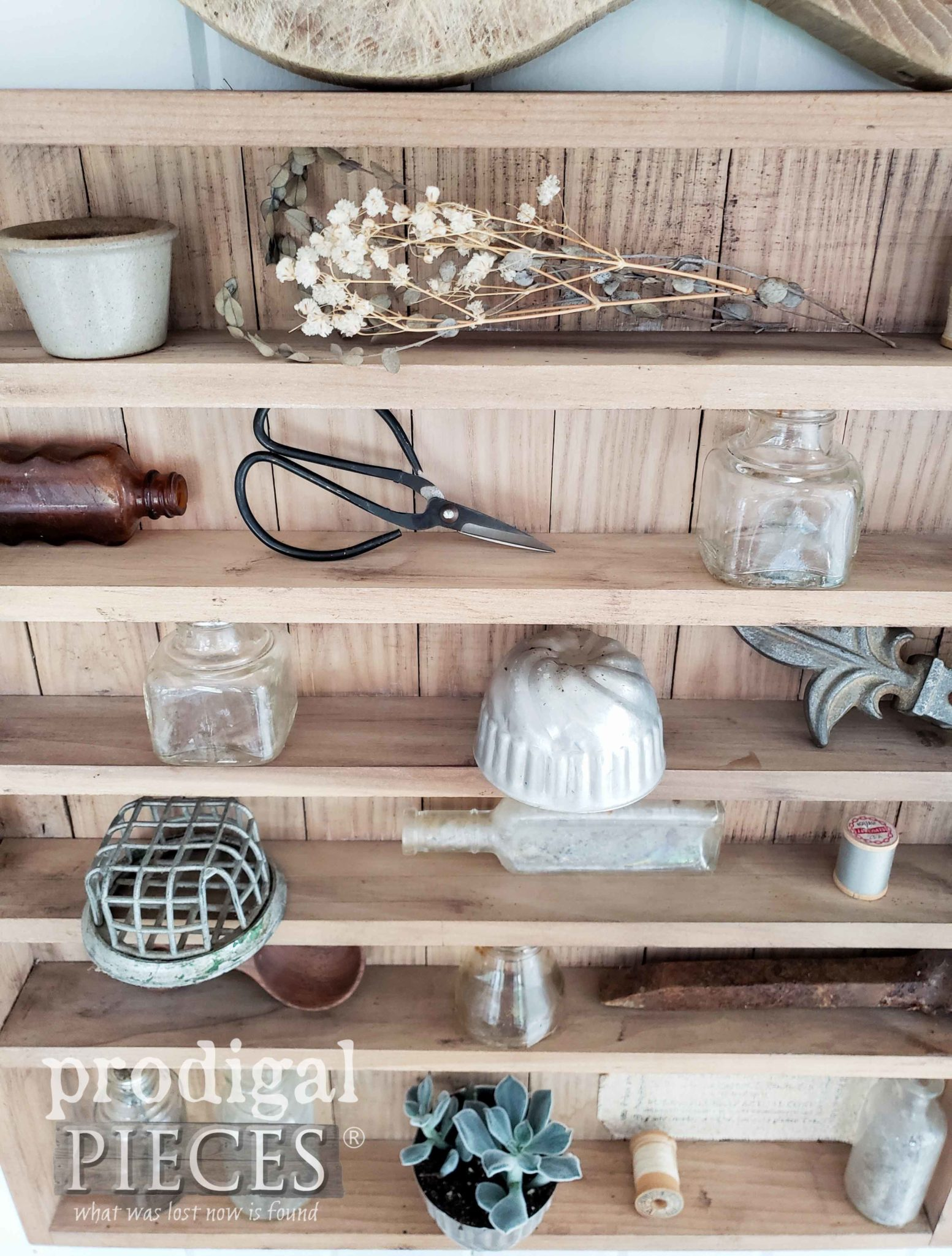 DIY Farmhouse Apothecary Cabinet with Bits & Baubles for a Vintage Vignette by Larissa of Prodigal Pieces | prodigalpieces.com #prodigalpieces #farmhouse #home #diy #homedecor