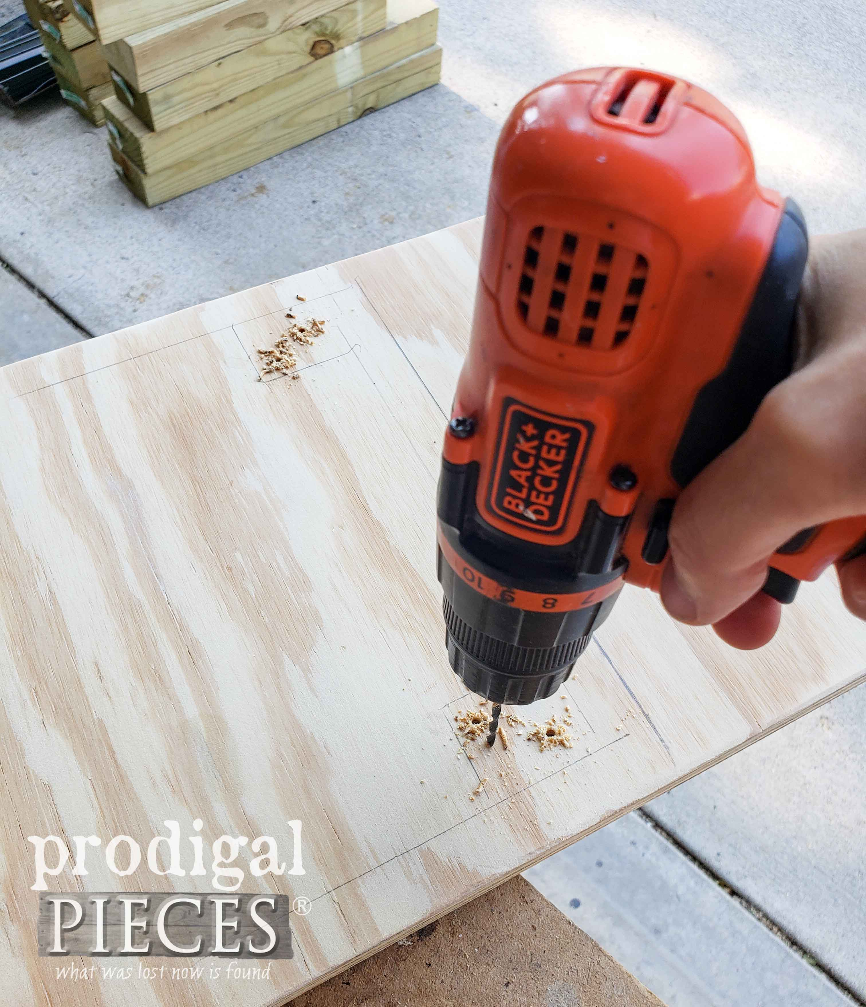 Drilling Plywood for Pretend Play Grill Set from Upcycled Bread Box by Prodigal Pieces | prodigalpieces.com