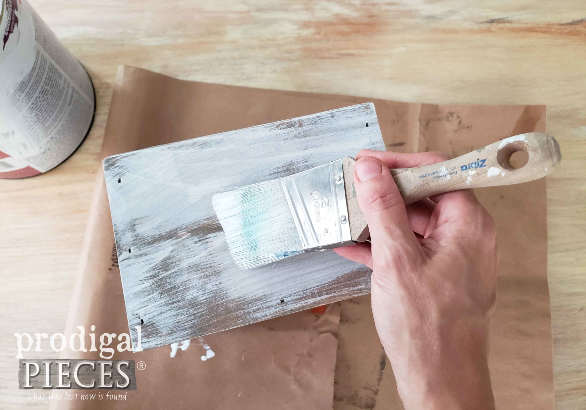 Dry Brush Painting Farmhouse Kitchen Caddy | prodigalpieces.com