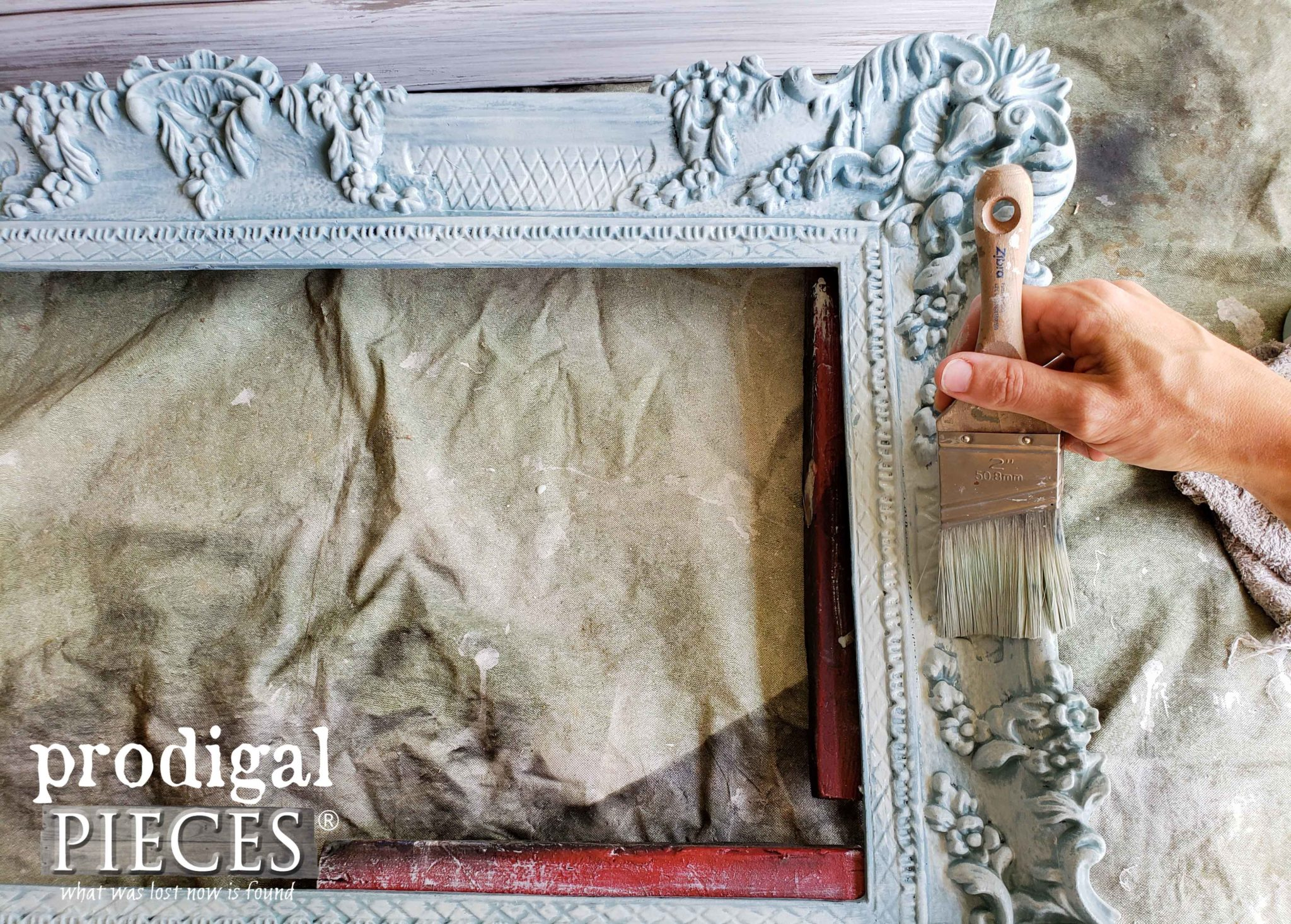 Dry Brushing Ornate Frame with DecoArt Vintage and Zibra Stubby Brush | available at Prodigal Pieces | prodigalpieces.com #prodigalpieces