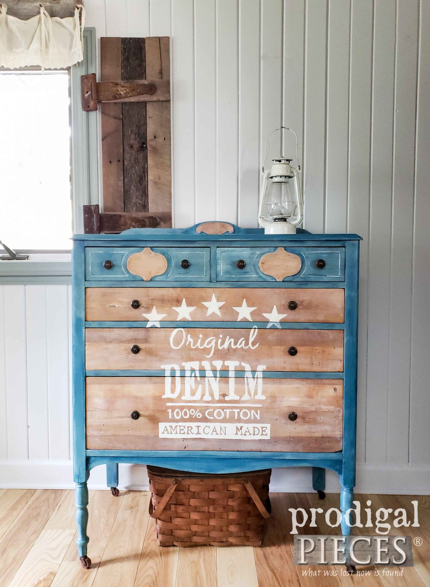 Farmhouse Chest of Drawers with Faded Denim Paint Effect and Typography Created by Larissa of Prodigal Pieces | prodigalpieces.com #prodigalpieces #diy #furniture #art #home #farmhouse #homedecor #denim