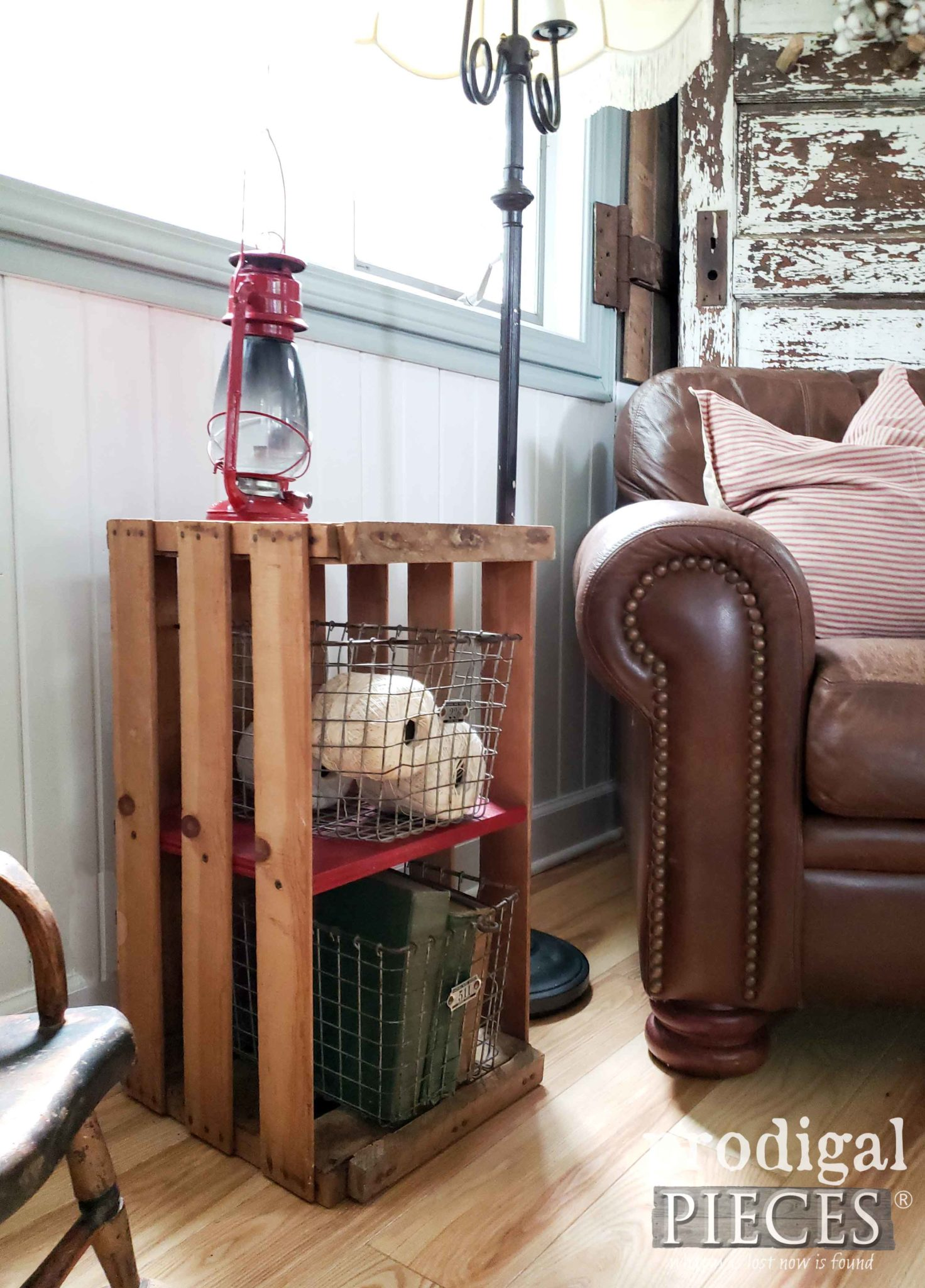 Upcycled Crate End Table for Farmhouse Decor by Larissa of Prodigal Pieces | prodigalpieces.com #prodigalpieces #diy #farmhouse #home #homedecor
