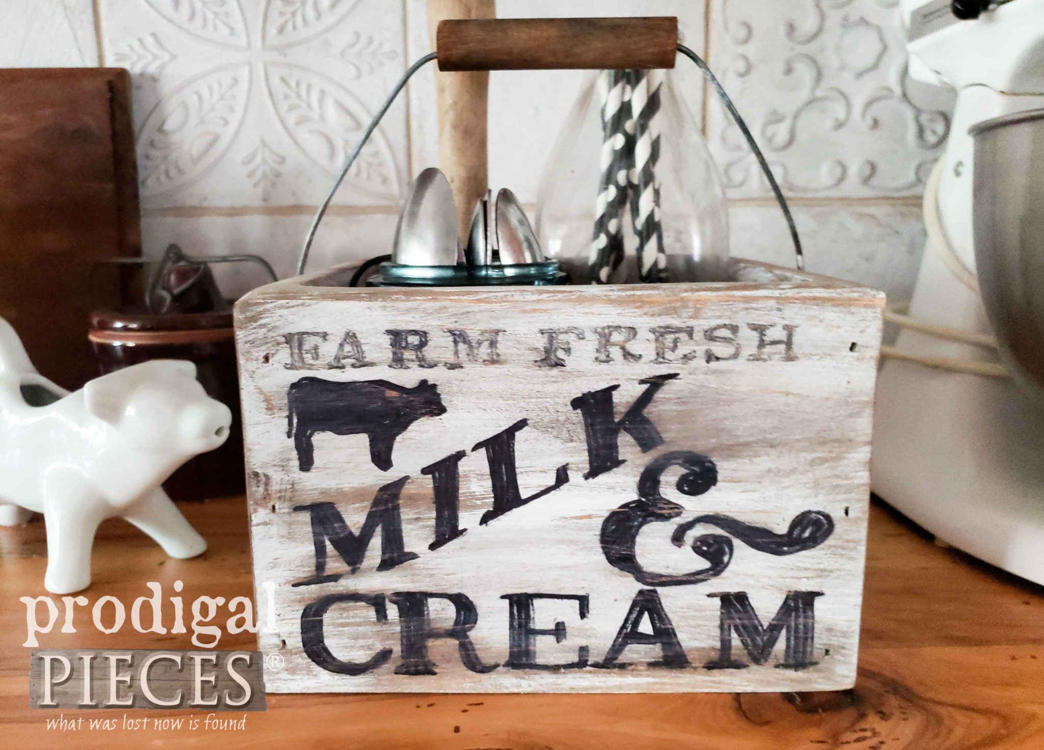 Farmhouse Milk & Cream Caddy for Kitchen Storage | Video tutorial by Larissa of Prodigal Pieces | prodigalpieces.com #prodigalpieces #farmhouse #kitchen #diy #home #homedecor