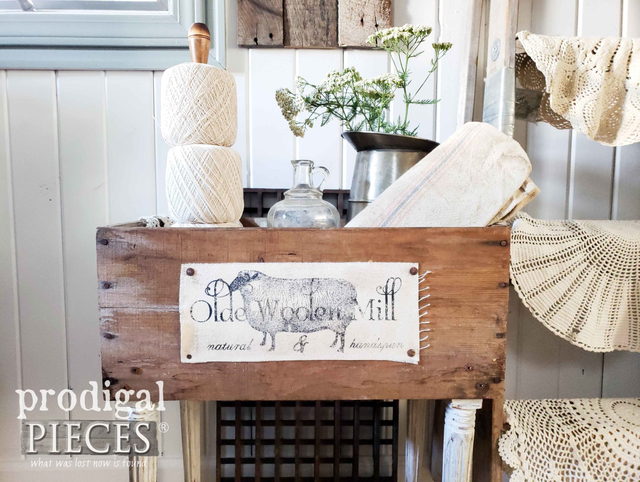DIY Farmhouse Style Upcycled Crate Table Handmade by Larissa of Prodigal Pieces | prodigalpieces.com #prodigalpieces #handmade #home #furniture #farmhouse #homedecor