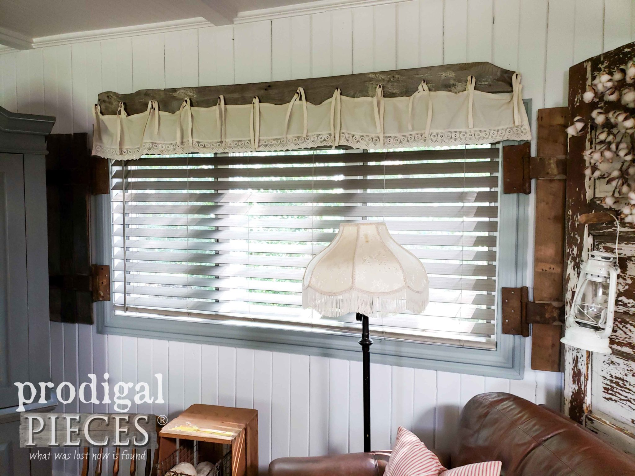 Farmhouse Style Faux Wood Blind with Weathered Look by Prodigal Pieces | prodigalpieces.com