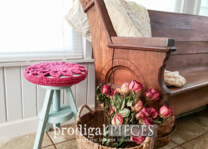 Featured Cottage Style Stool with Crochet Seat Cover by Larissa of Prodigal Pieces | prodigalpieces.com #prodigalpieces #diy #furniture #home #cottagestyle #homedecor #crochet