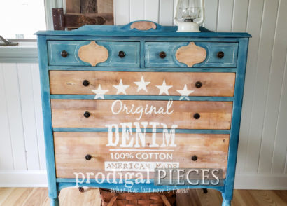 Featured DIY Denim Paint Technique on Antique Chest of Drawers | Tutorial by Larissa of Prodigal Pieces | prodigalpieces.com #prodigalpieces #diy #furniture #farmhouse #home #homedecor