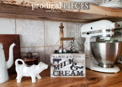 Create your own storage from a thrifted find like this Upcycled Farmhouse Kitchen Caddy | Video tutorial at prodigalpieces.com #prodigalpieces #farmhouse #diy #home #homedecor #kitchen #storage