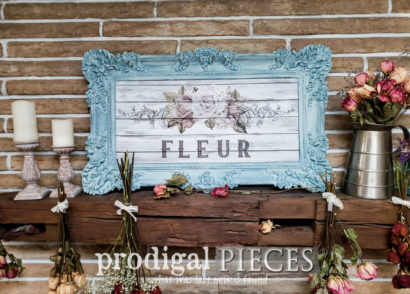 Featured Shabby Chic Wall Art Created from a Thrifted Mirror by Larissa of Prodigal Pieces | prodigalpieces.com #prodigalpieces #diy #home #homedecor #shabbychic #farmhouse