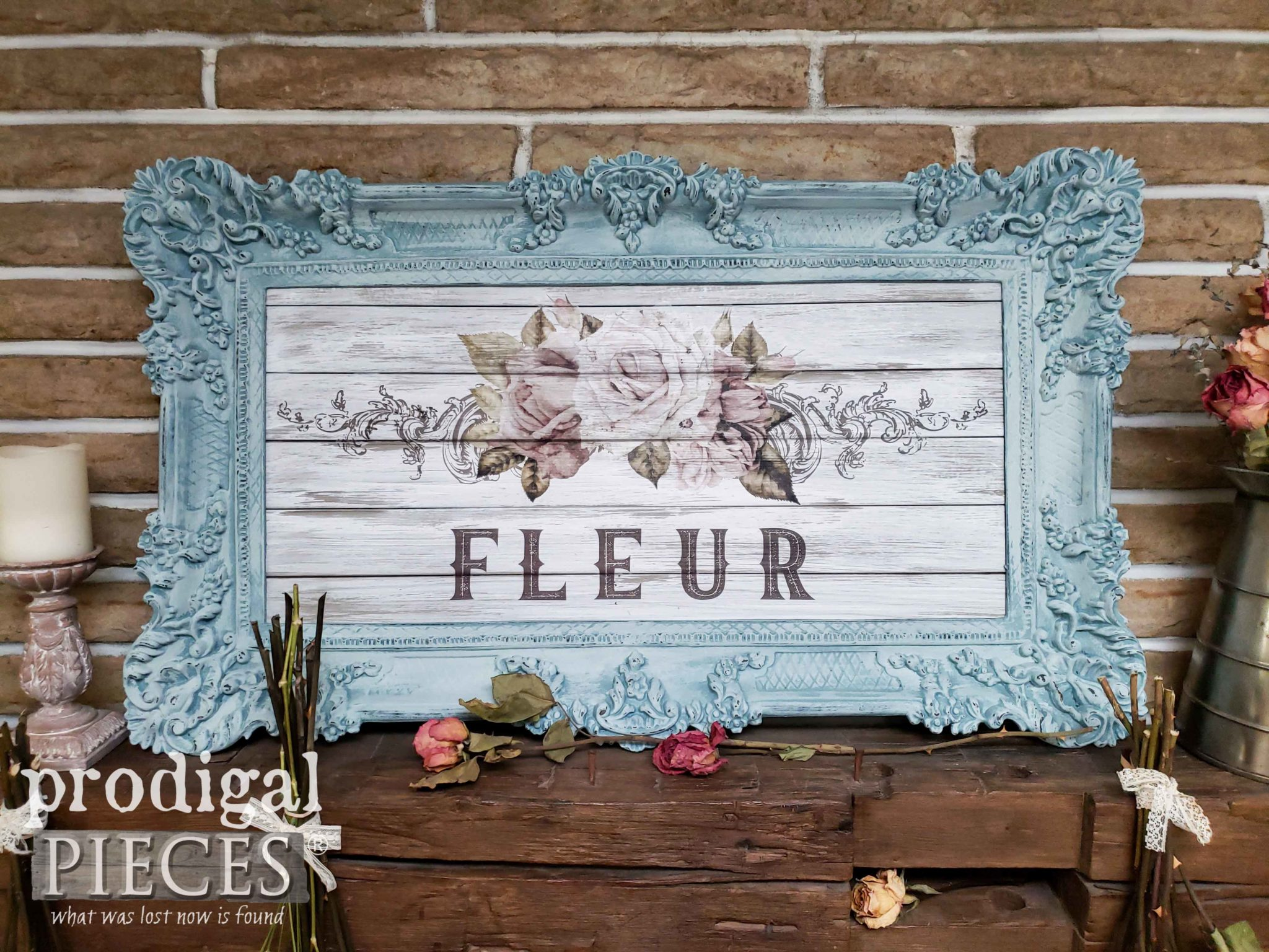 French Flower Shabby Chic Wall Art with Prima re-Design as used by Larissa of Prodigal Pieces | prodigalpieces.com #prodigalpieces #home #art #shabbychic #french #homedecor