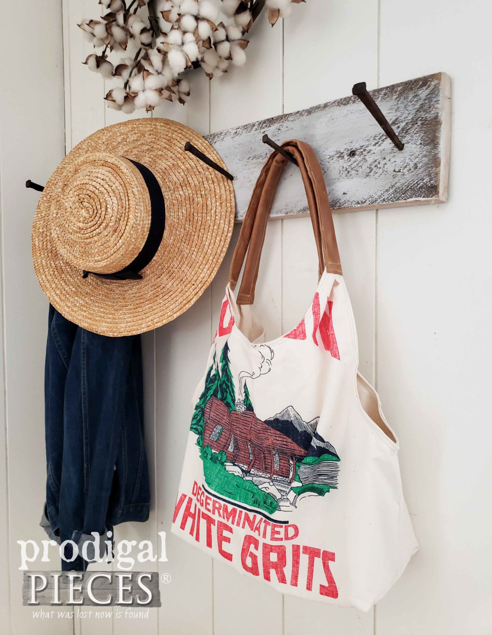Handmade Farmhouse Style Feed Sack Tote Bag with Leather Handles by Larissa of Prodigal Pieces | prodigalpieces.com #prodigalpieces #handmade #fashion #style #farmhouse