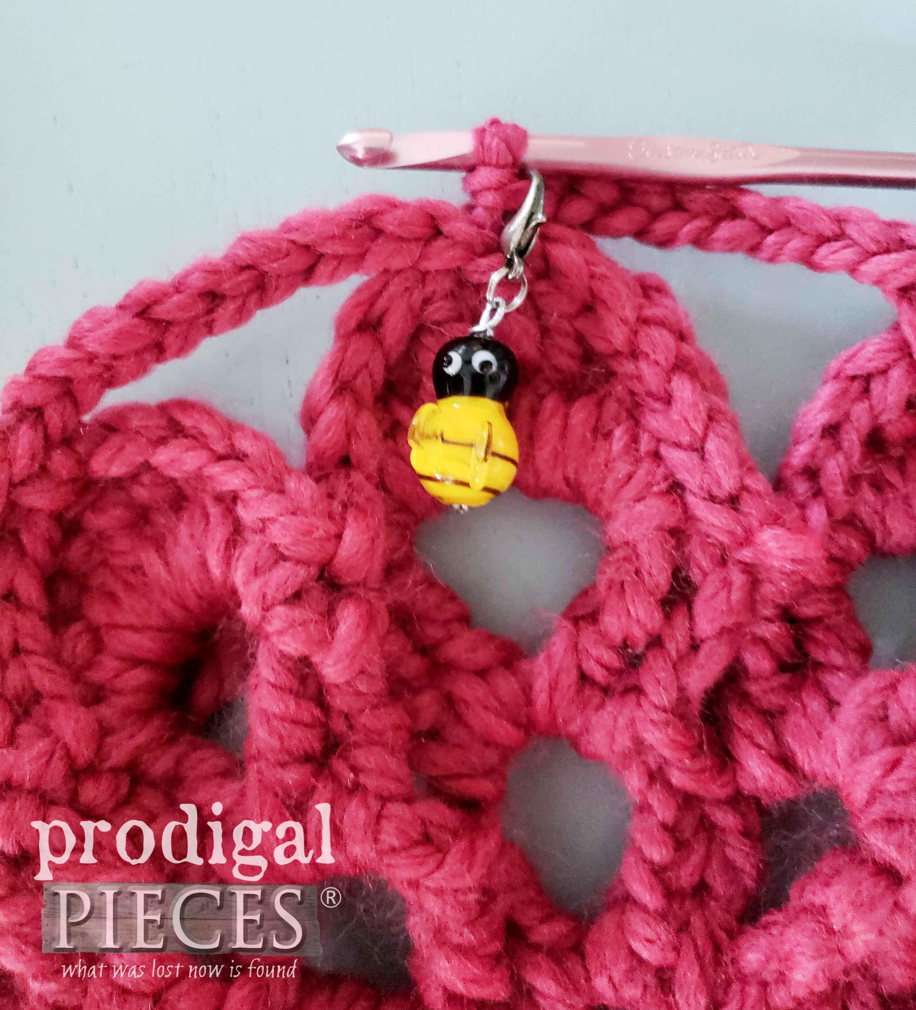 Handmade Crochet Stitch Marker by Larissa of Prodigal Pieces | prodigalpieces.com #prodigalpieces #diy #home #homedecor #crochet