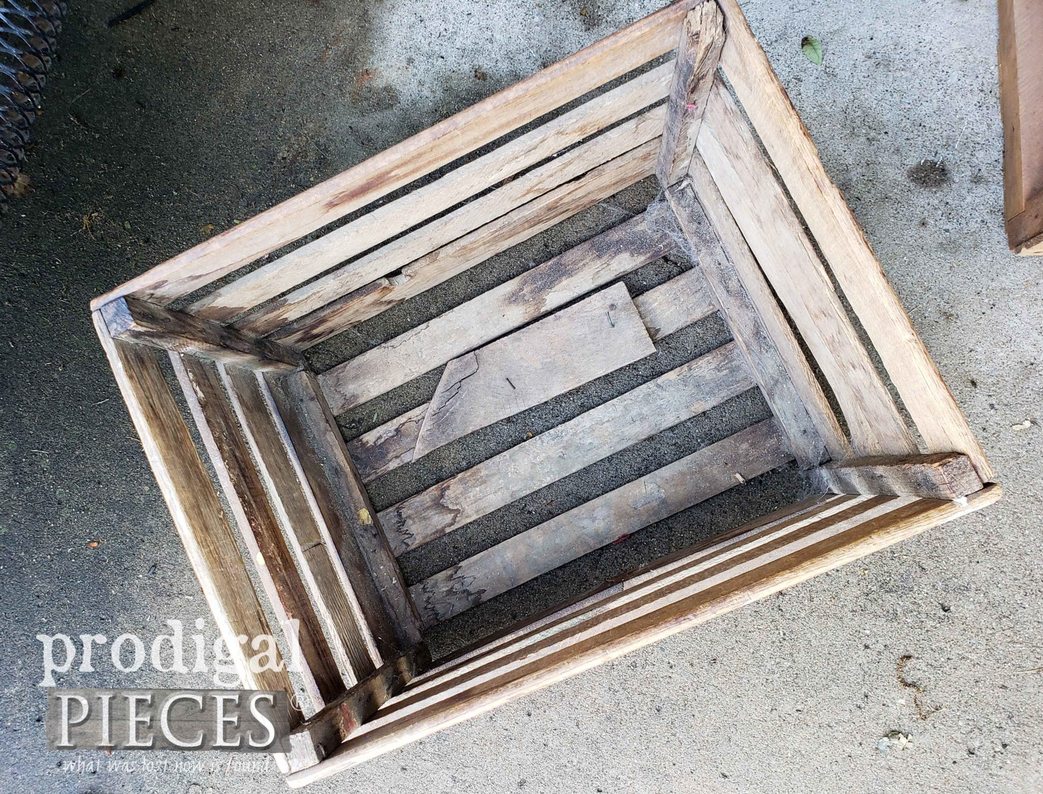 Inside Wooden Farmhouse Slat Crate | prodigalpieces.com