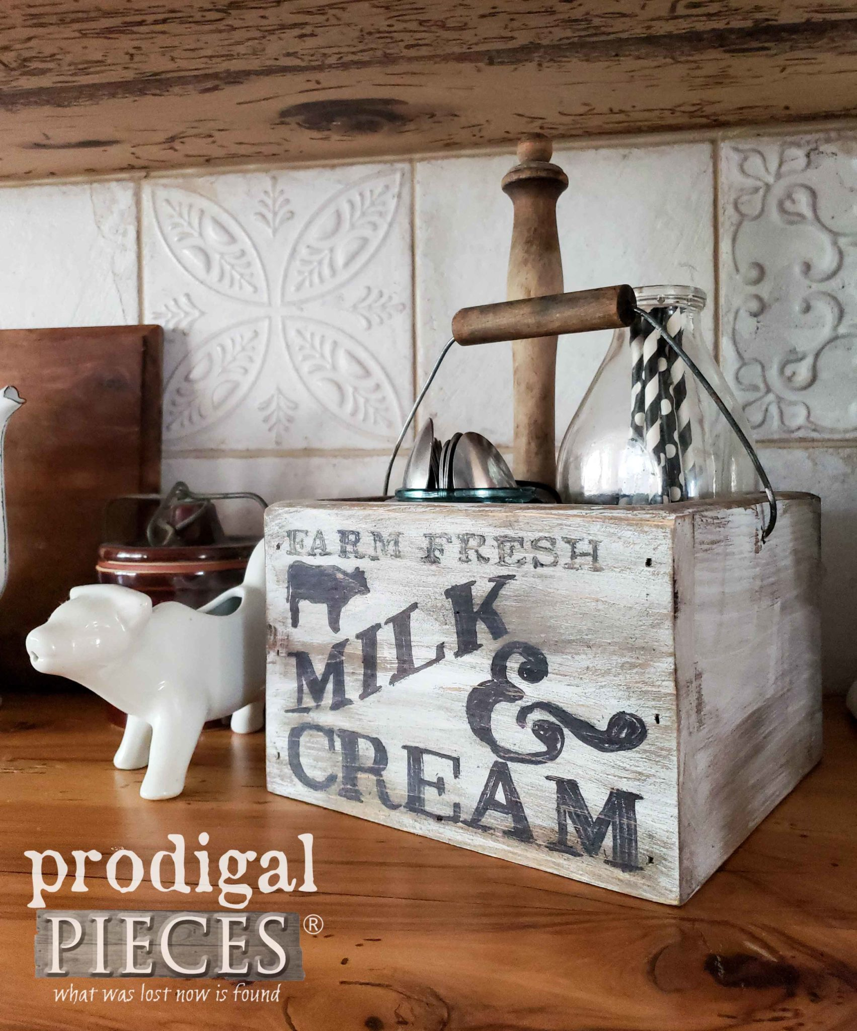 Milk & Cream Typography for Farmhouse Kitchen Caddy | Video tutorial by Larissa of Prodigal Pieces | prodigalpieces.com #prodigalpieces #diy #home #homedecor #farmhouse #storage