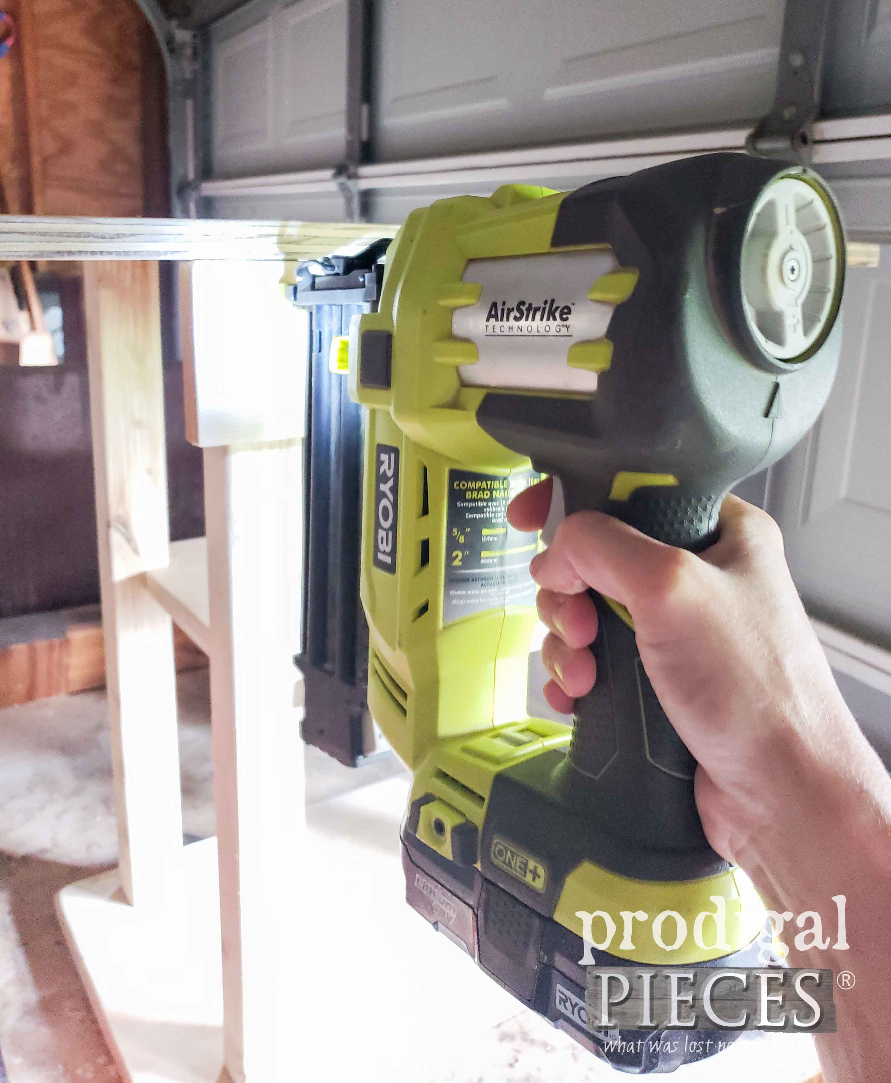 Nailing Pretend Play Grill Cart Together with Ryobi Nailer | prodigalpieces.com
