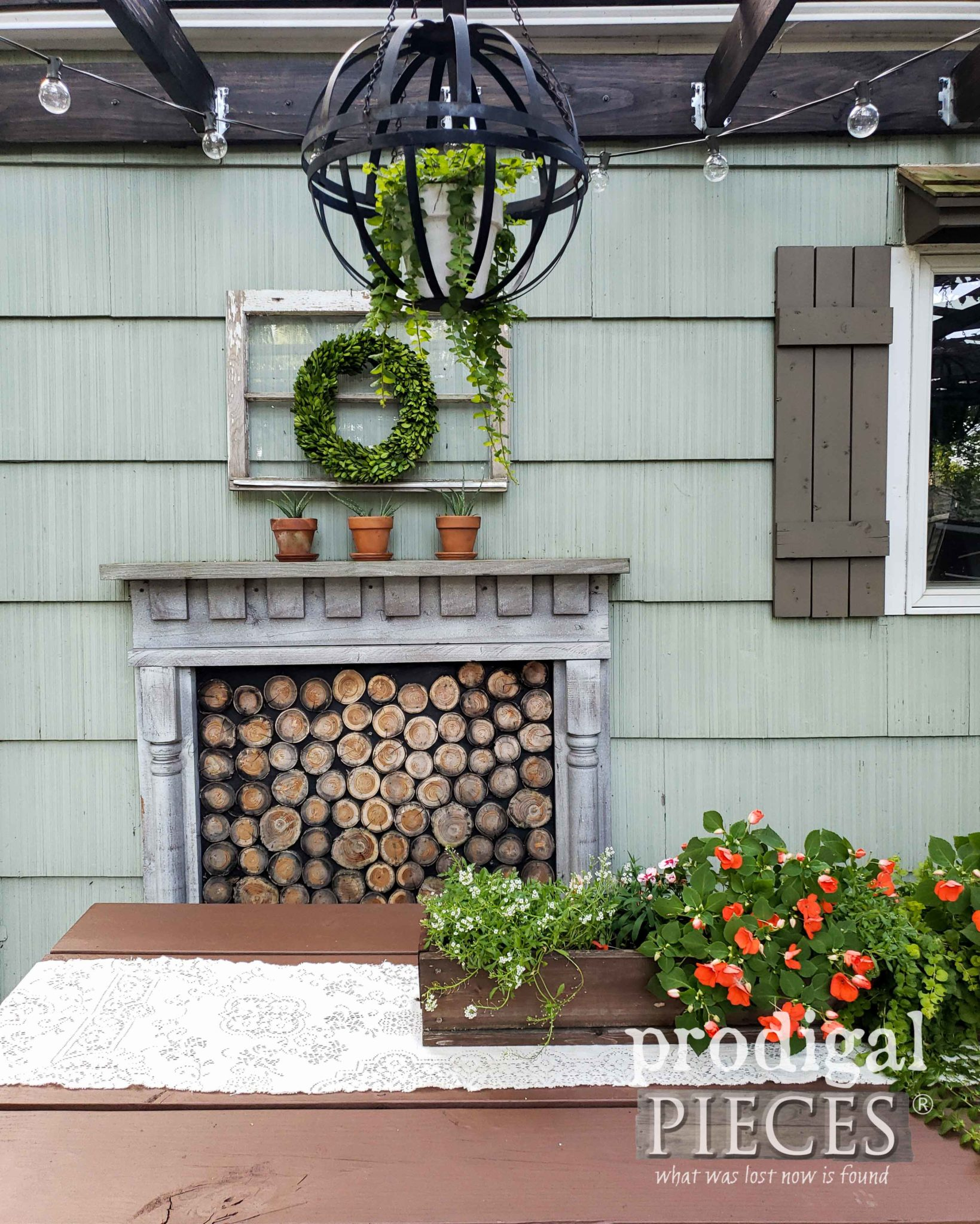 Outdoor Dining Area with DIY Faux Fireplace with Tutorial by Larissa of Prodigal Pieces | prodigalpieces.com #prodigalpieces #diy #home #homedecor #outdoor #patio