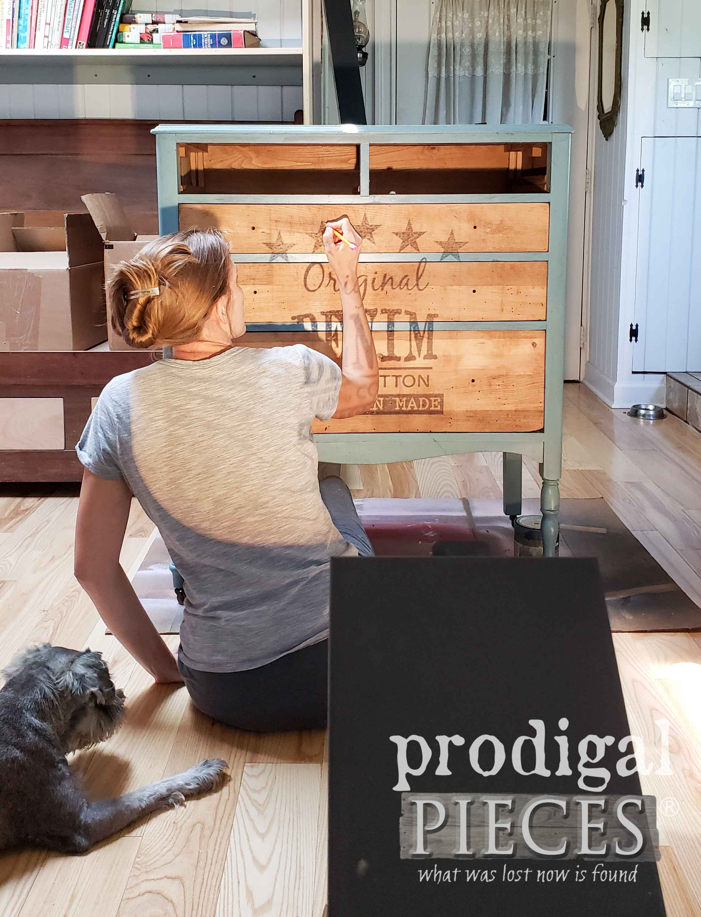 Painting Chest with Typography Using Overhead Projector by Larissa of Prodigal Pieces | prodigalpieces.com #prodigalpieces