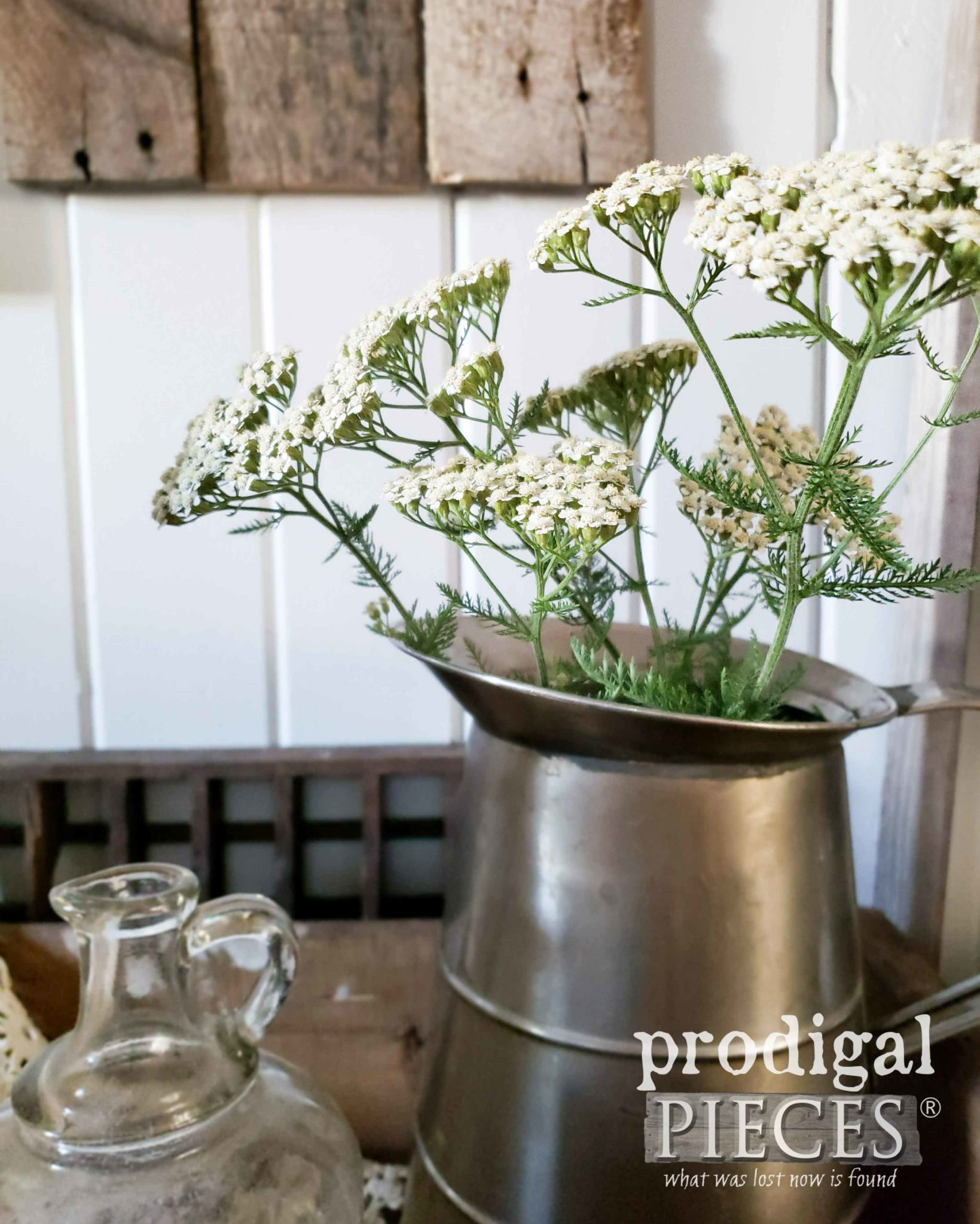 Pitcher of Yarrow for Simple Farmhouse Decor by Larissa of Prodigal Pieces | prodigalpieces #prodigalpieces #farmhouse #flowers #home #homedecor