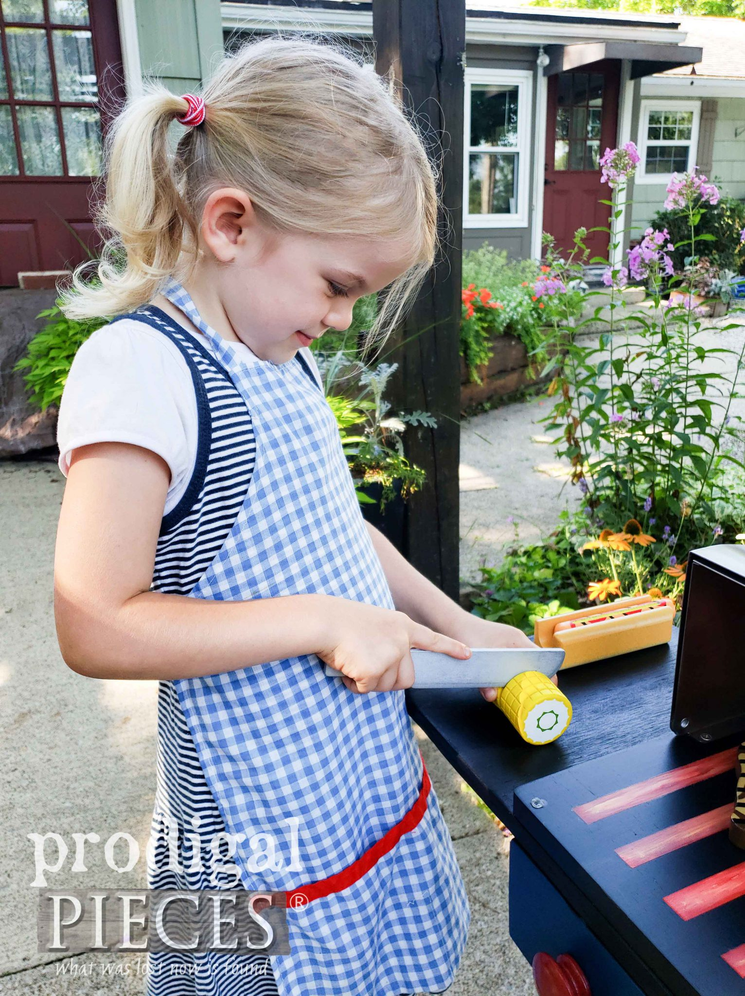 Pretend Play Grill with Food Set Created by Larissa of Prodigal Pieces | prodigalpieces.com #prodigalpieces #handmade #toys #kids #fun