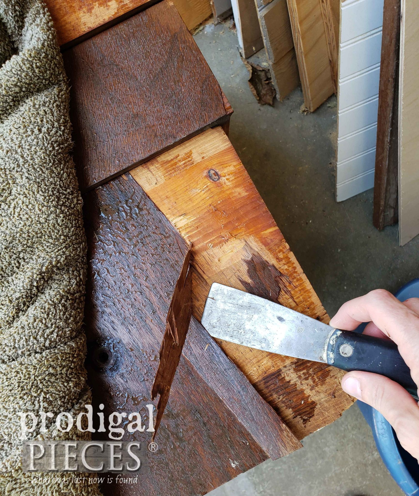 Removing Damaged Veneer to Antique Chest of Drawers | prodigalpieces.com