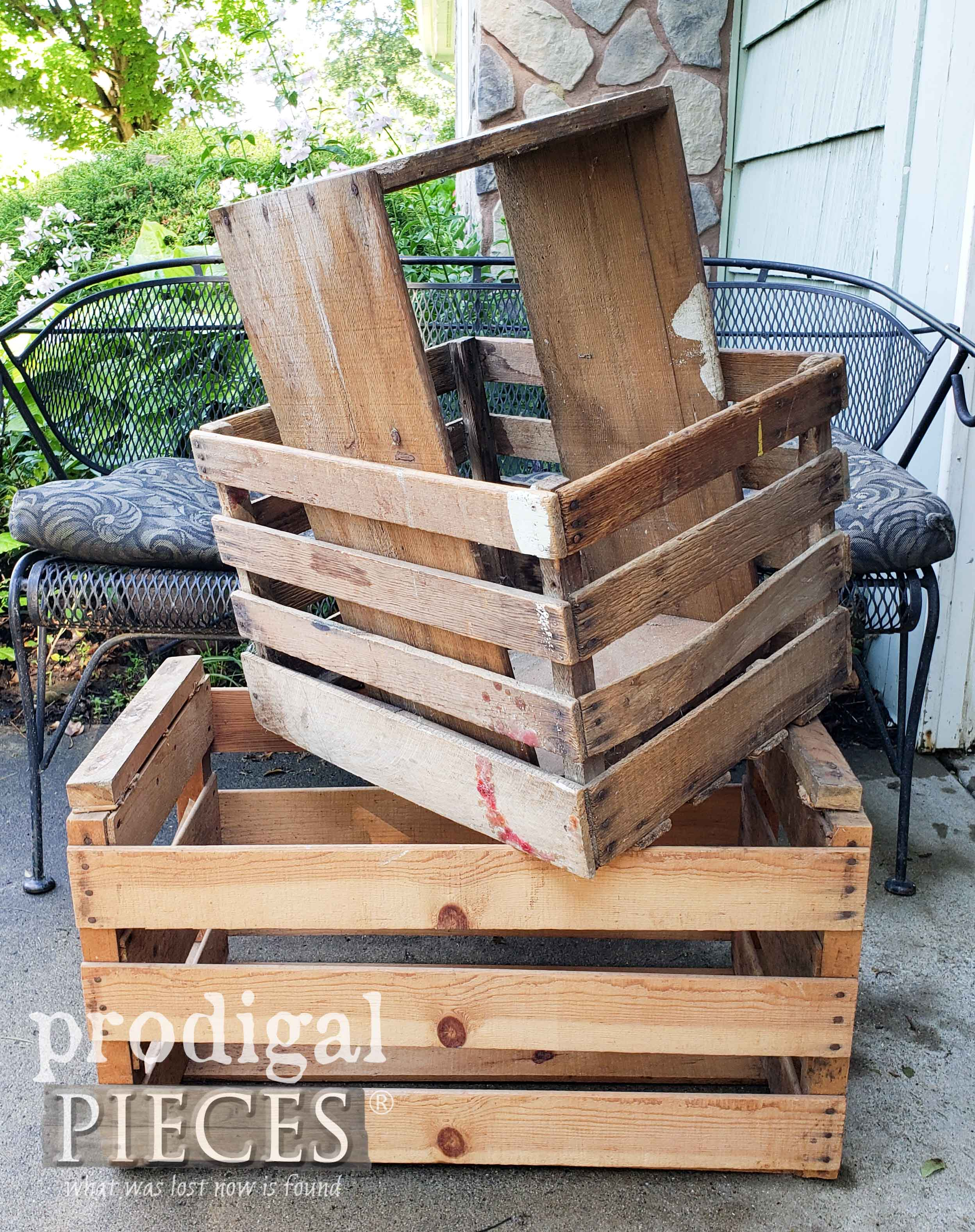 Old Antique Wooden Crates Before Upcycle | prodigalpieces.com