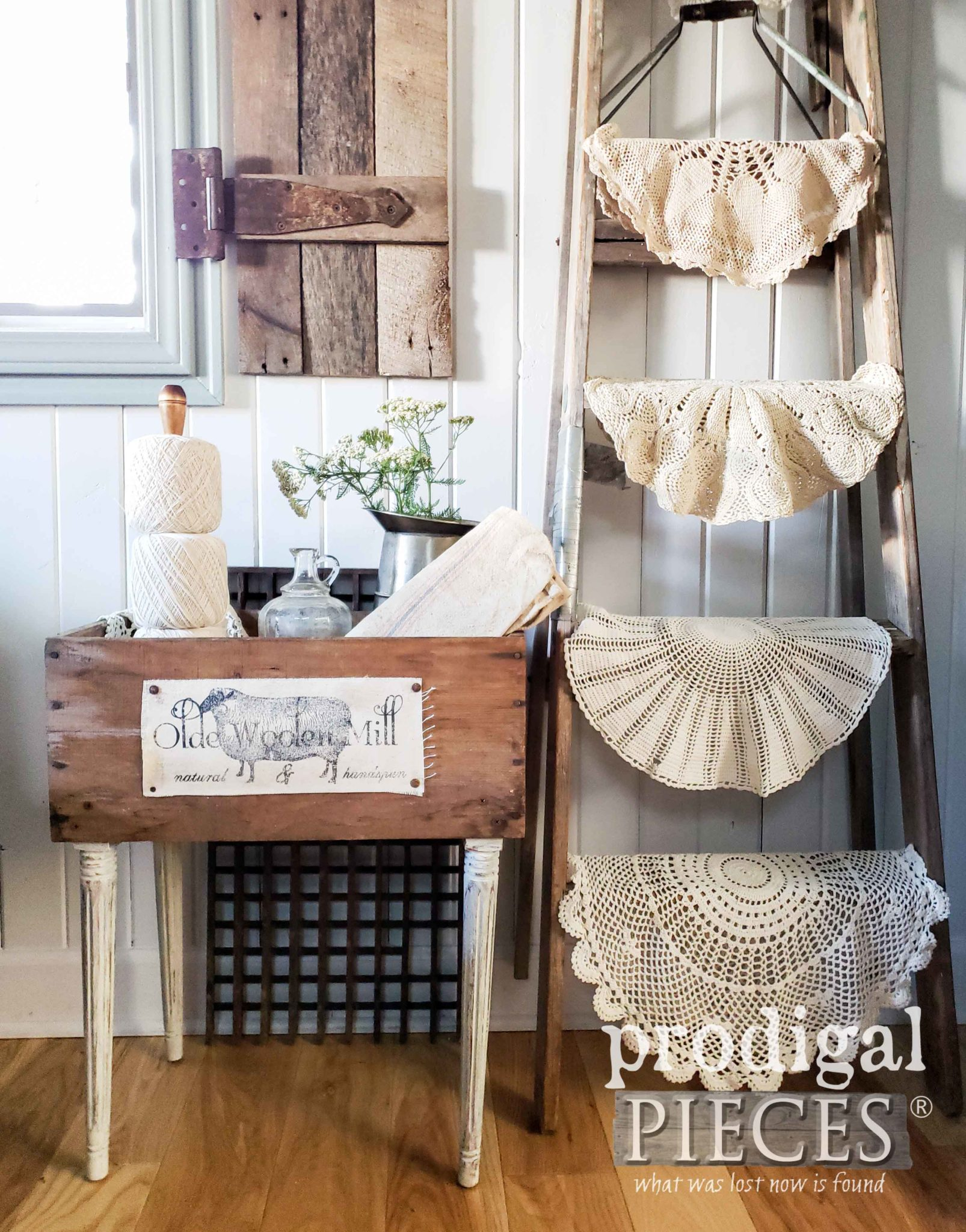 Rustic Farmhouse Crate Table Made from Upcycled Parts by Larissa of Prodigal Pieces | prodigalpieces.com #prodigalpieces #farmhouse #furniture #home #homedecor