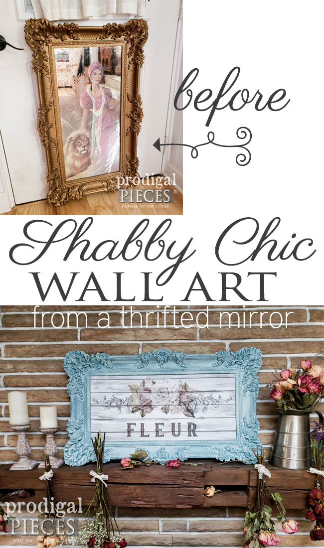 A misfit mirror has a gorgeous frame which makes it a perfect candidate for a shabby chic makeover. Come see the video tutorial by Larissa of Prodigal Pieces for some DIY fun. | prodigalpieces.com #prodigalpieces #farmhouse #shabbychic #home #homedecor #diy #crafts #video