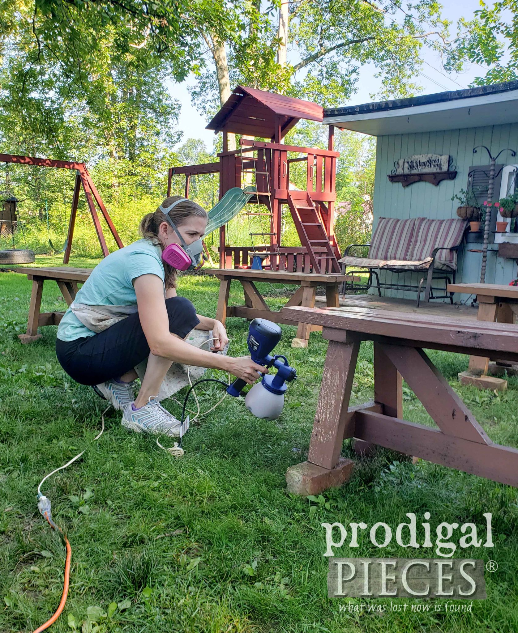 Spray Staining Outdoor Patio Benches with HomeRight Super Finish Max Sprayer by Larissa of Prodigal Pieces | prodigalpieces.com #prodigalpieces #diy #outdoor #diy