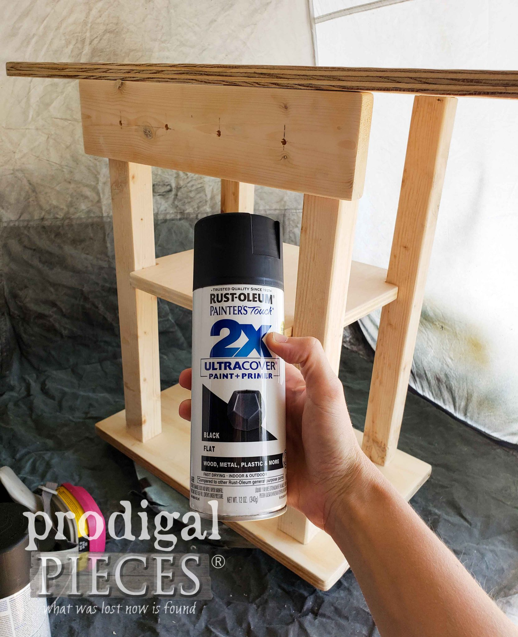 Spray Paining Play Grill with Rustoleum Flat Black 2X Spray | prodigalpieces.com