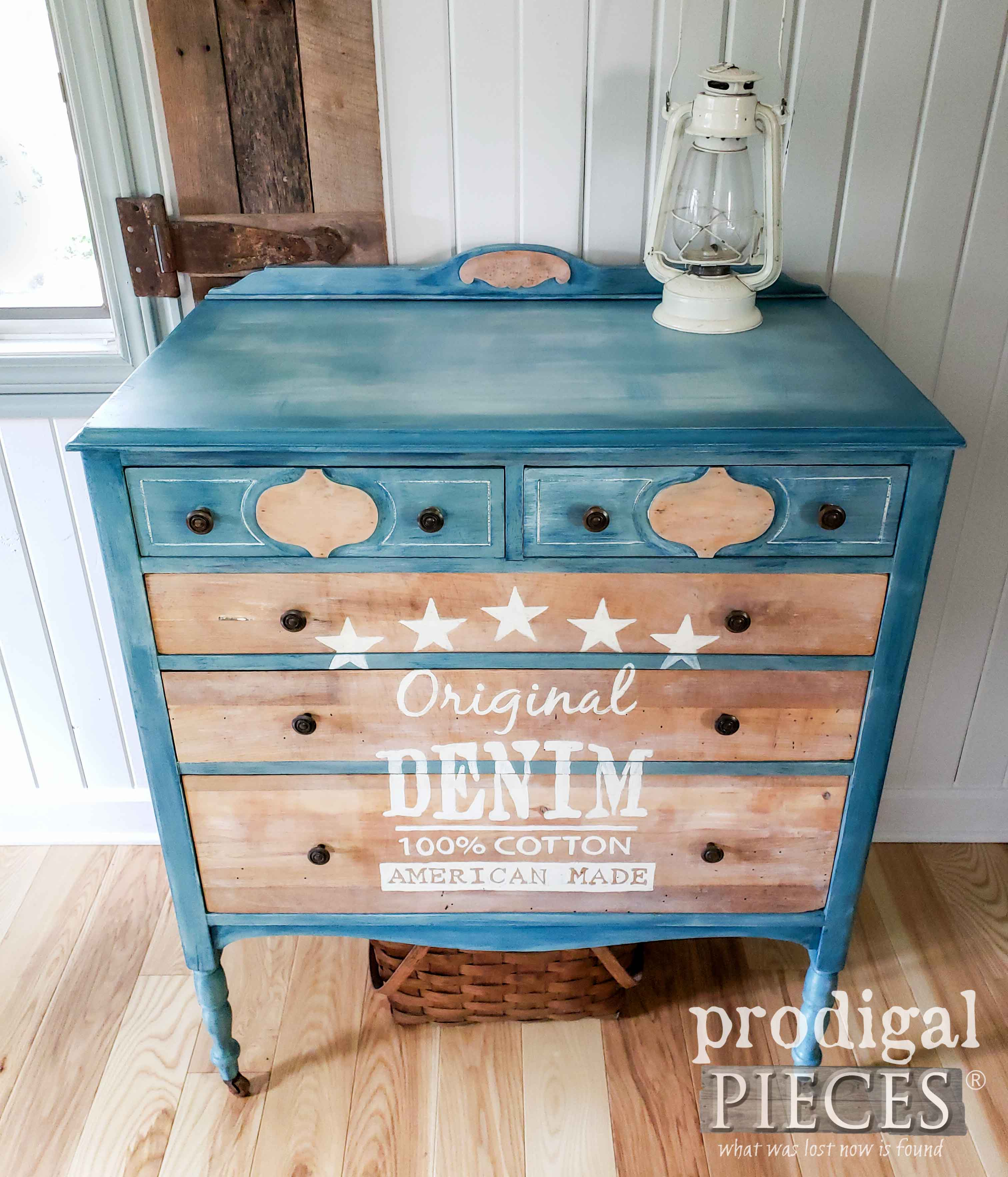 Top View of DIY Denim Paint Chest of Drawers by Larissa of Prodigal Pieces | prodigalpieces.com #prodigalpieces #diy #furniture #farmhouse #denim #home #homedecor