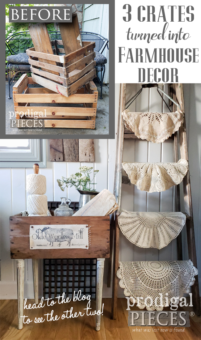 Don't toss or pass up those old crates you see on the roadside or at flea markets. Upcycled crates make awesome farmhouse decor. | Come see at Prodigal Pieces | prodigalpieces #prodigalpieces #diy #farmhouse #home #homedecor