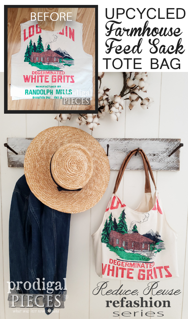 How cute is this upcycled feed sack tote bag created by Larissa of Prodigal Pieces of the Reduce, Reuse, Refashion series | visit prodigalpieces.com for more details | #prodigalpieces #diy #fashion #sewing #bag #farmhouse