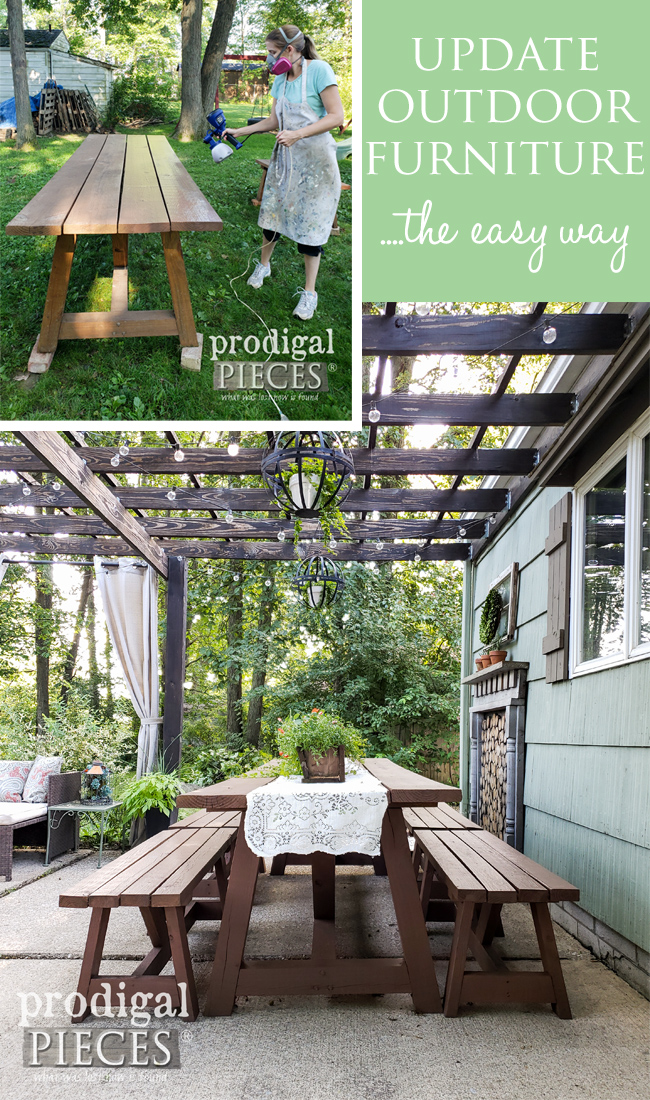 Update your outdoor furniture & decor the easy way with the HomeRight Super Finish Max Sprayer by Larissa of Prodigal Pieces | Details at prodigalpieces.com #prodigalpieces #diy #patio #diy #home #homedecor #patio #tools #outdoor