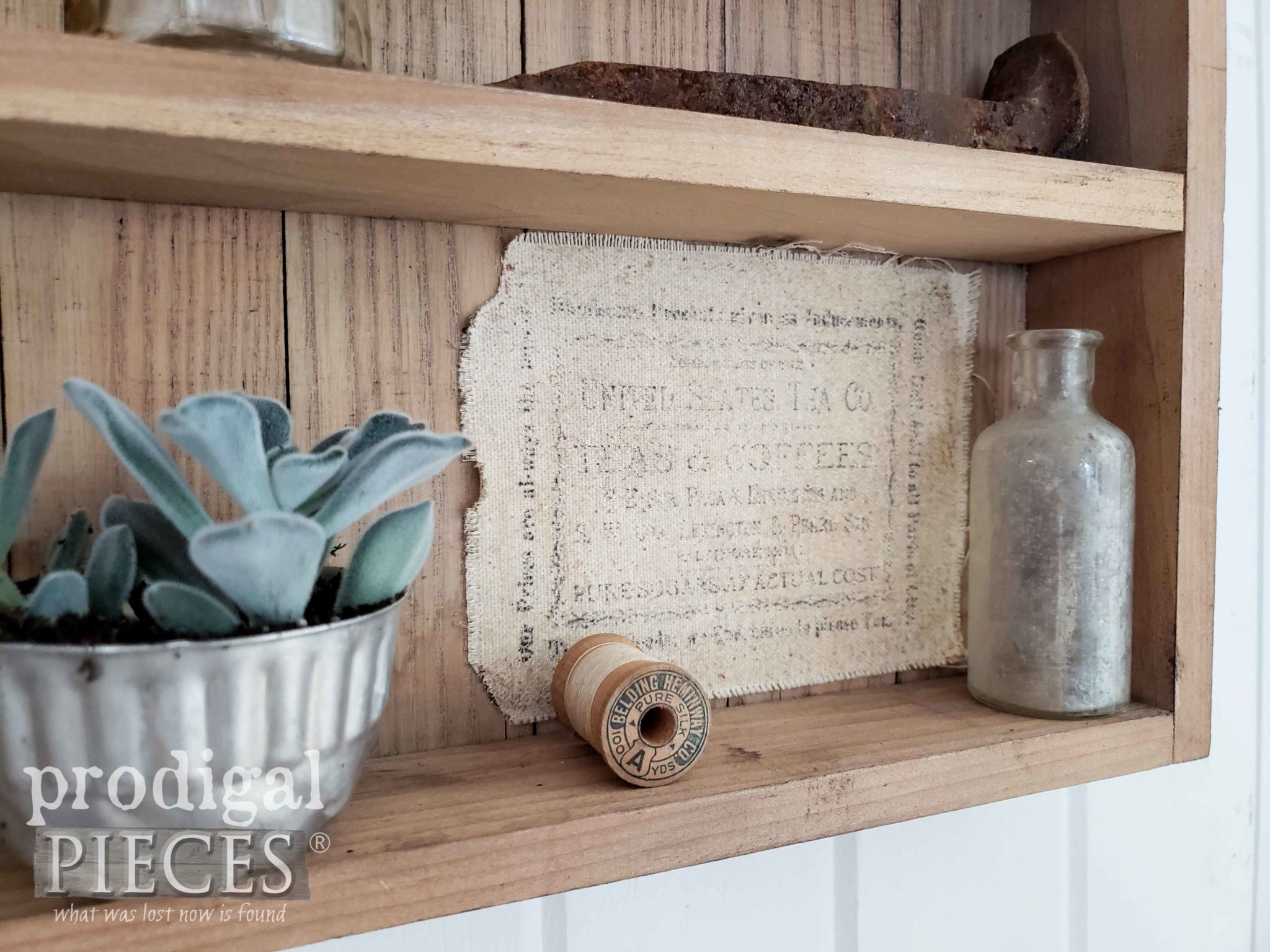 Vintage Apothecary Label added to Farmhouse Cabinet by Larissa of Prodigal Pieces | prodigalpieces.com #prodigalpieces #farmhouse #diy #home #homedecor