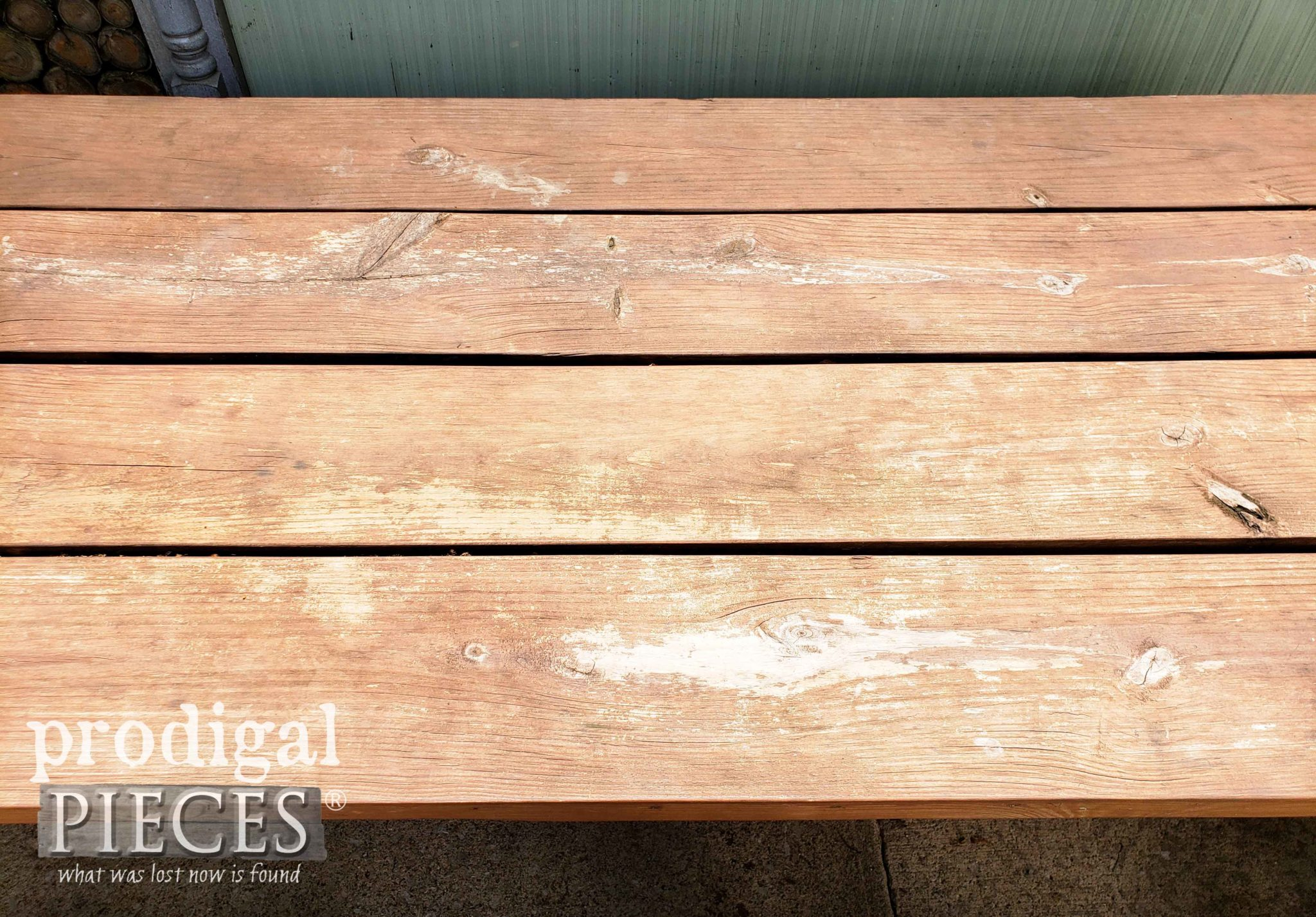 Worn Patio Table Top Before Update and Restoration by Larissa of Prodigal Pieces | prodigalpieces.com