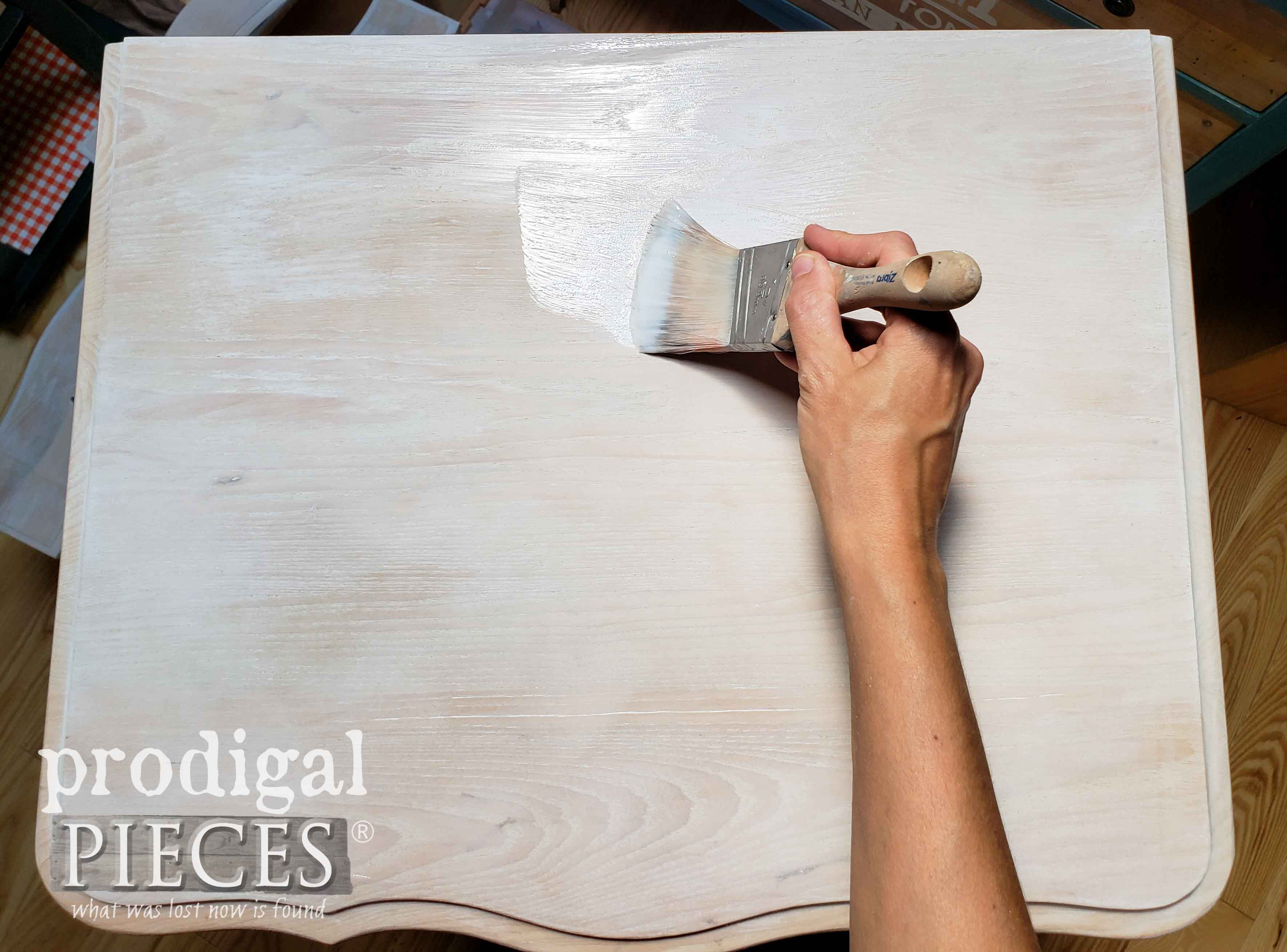 Applying Matte Poly Topcoat with Zibra Stubby Paint Brush | prodigalpieces.com #prodigalpieces
