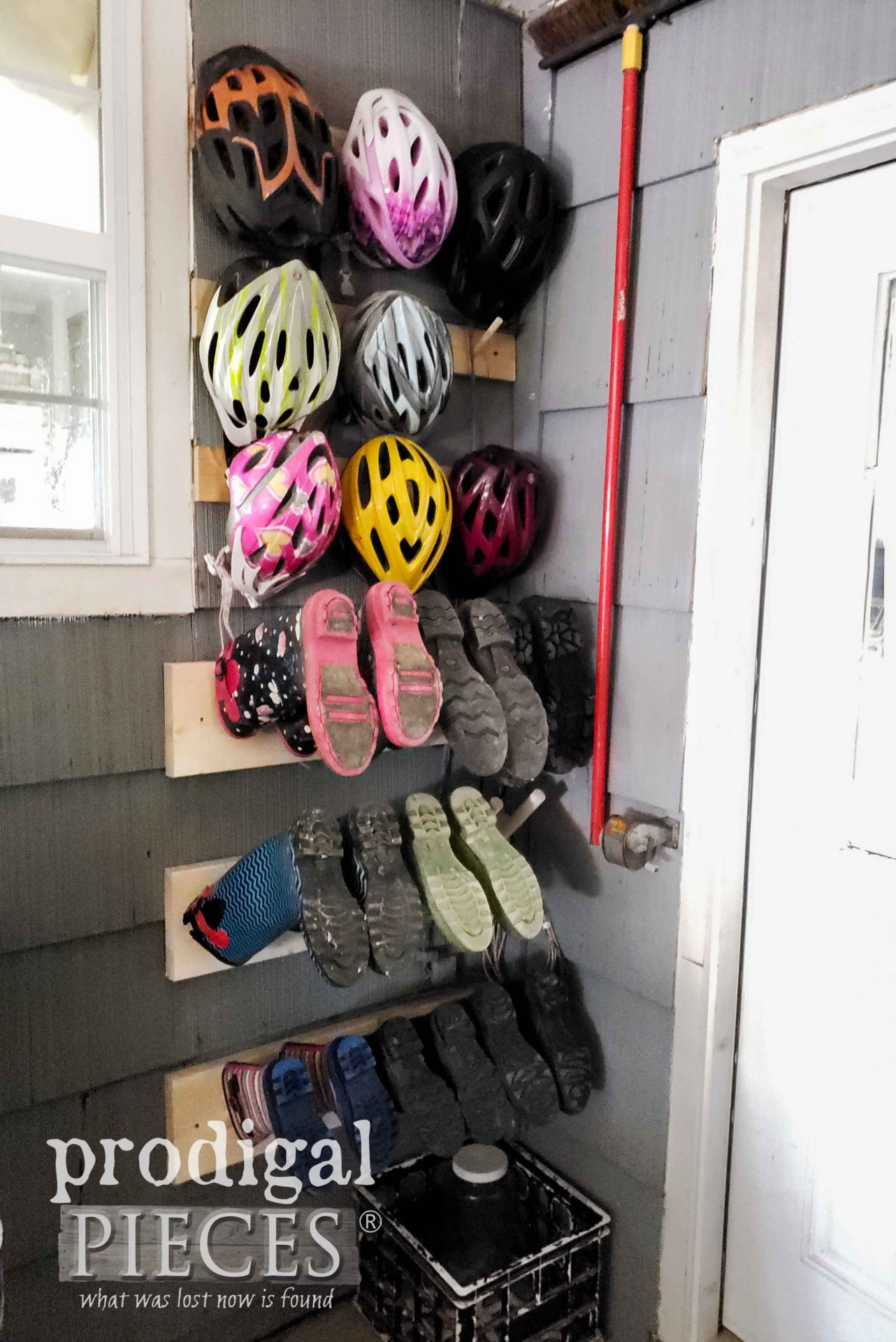 Build this DIY Boot Rack with Bike Helmet Storage too | Head to Prodigal Pieces | prodigalpieces.com #prodigalpieces #diy #home #storage #homedecor #storage #woodworking
