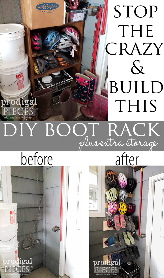 DIY Boot Rack for Indoors or Out | Storage Solutions made easy | Prodigal Pieces | prodigalpieces.com #prodigalpieces #diy #home #homedecor #storage #woodworking
