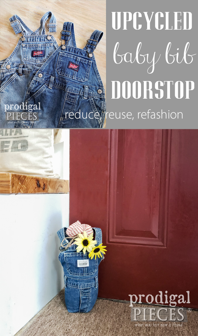 Take those outgrown or worn-out baby bib overalls and upcycle them into a DIY doorstop | Reduce, Reuse, REFASHION time at Prodigal Pieces | prodigalpieces.com #prodigalpieces #diy #home #homedecor #handmade #upcycle #diy