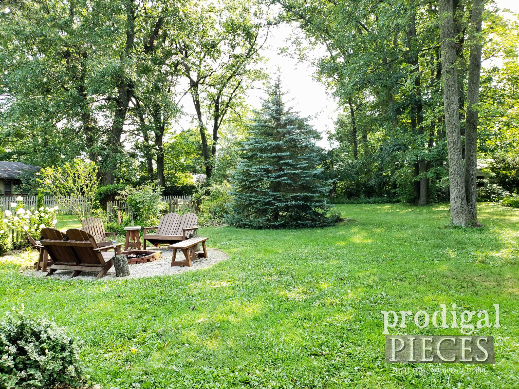 Backyard Before Privacy Fence with DIY Fire Pit by Prodigal Pieces | prodigalpieces.com