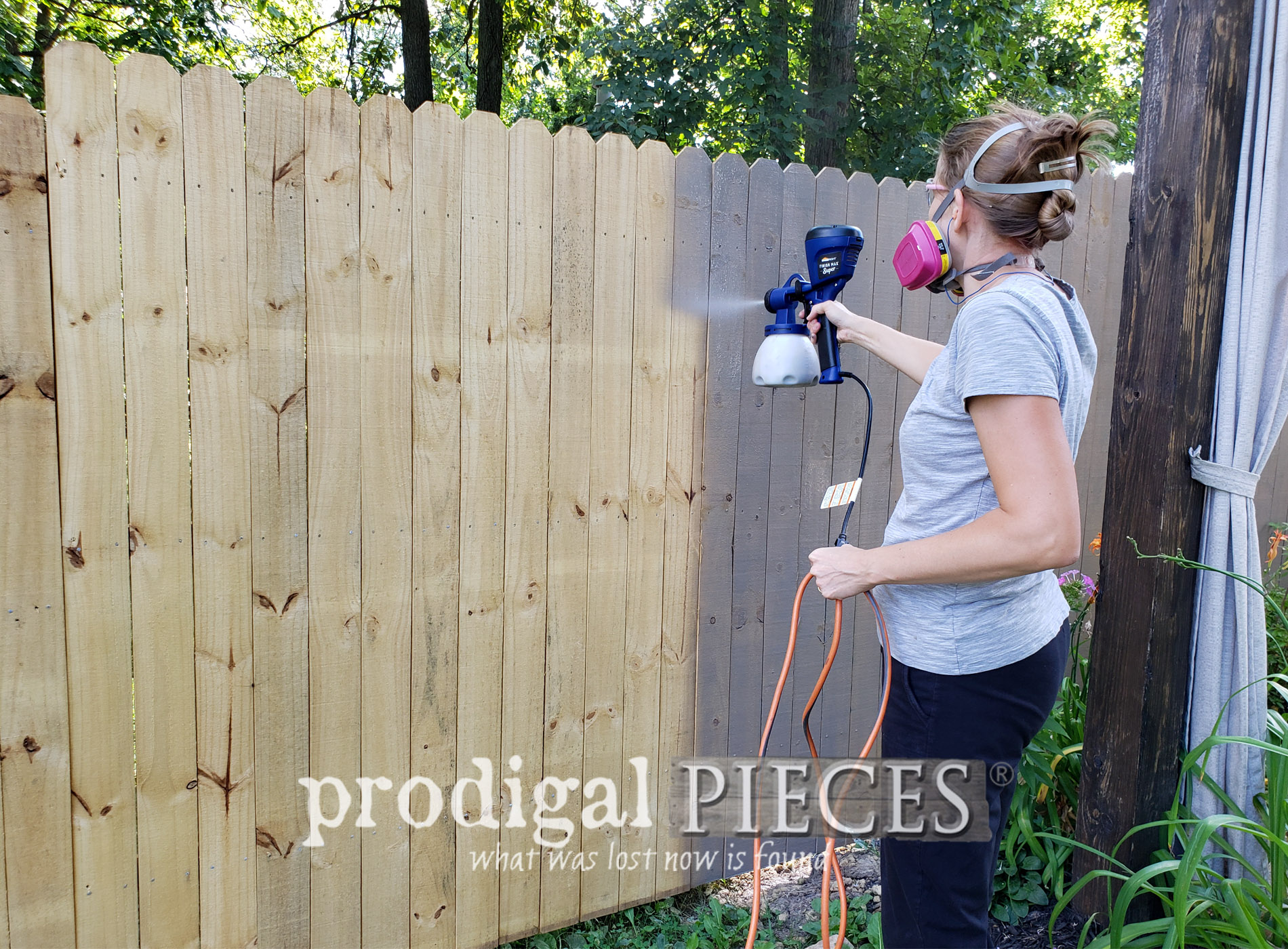 How to Stain a Fence the Easy Way ~ Fast & Affordable too | Video demonstration at Prodigal Pieces | prodigalpieces.com #prodigalpieces #diy #home #outdoor #homedecor #diy #tools #farmhouse